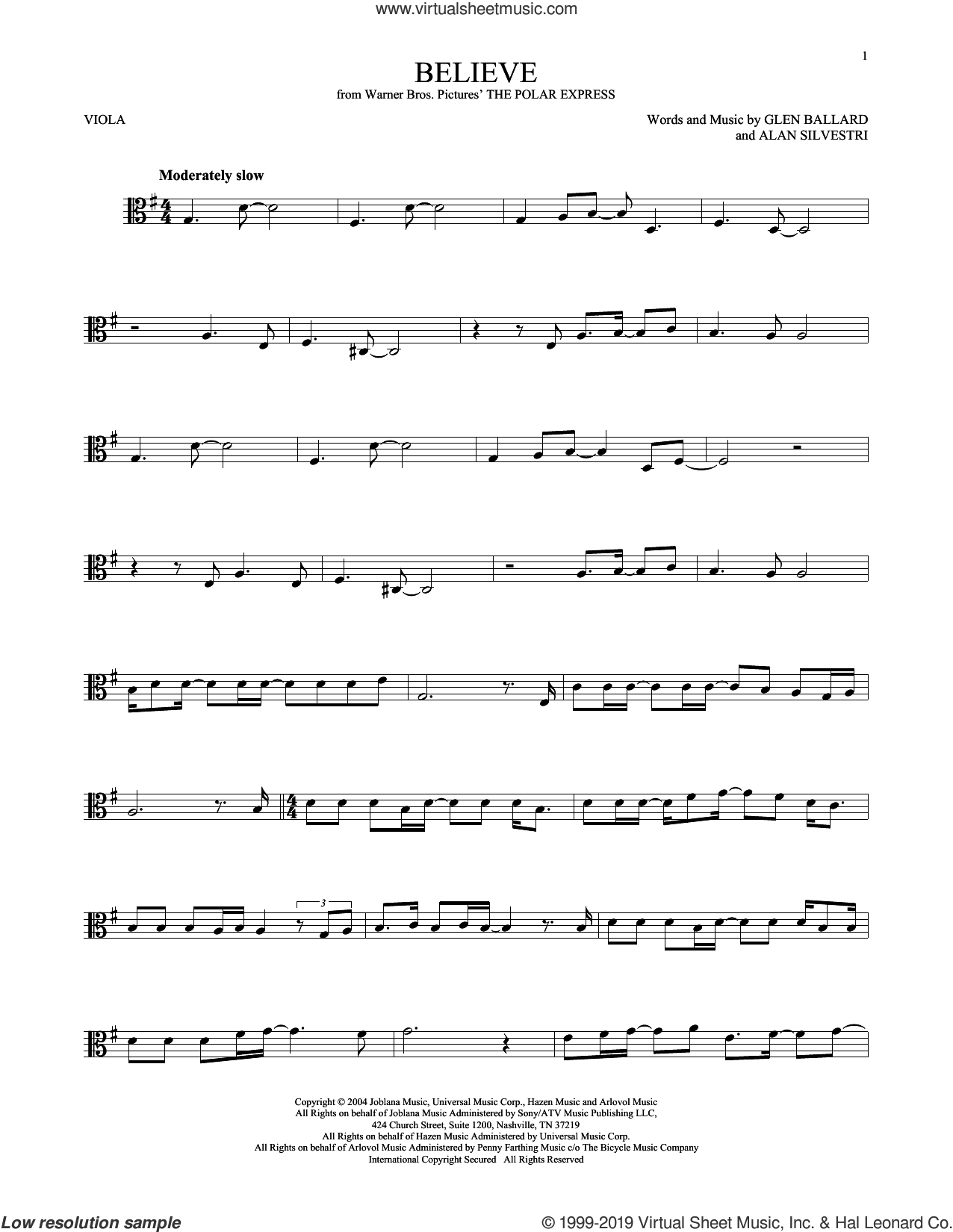 Believe (from The Polar Express) sheet music for viola solo by Josh Groban, Alan Silvestri and Glen Ballard, intermediate skill level
