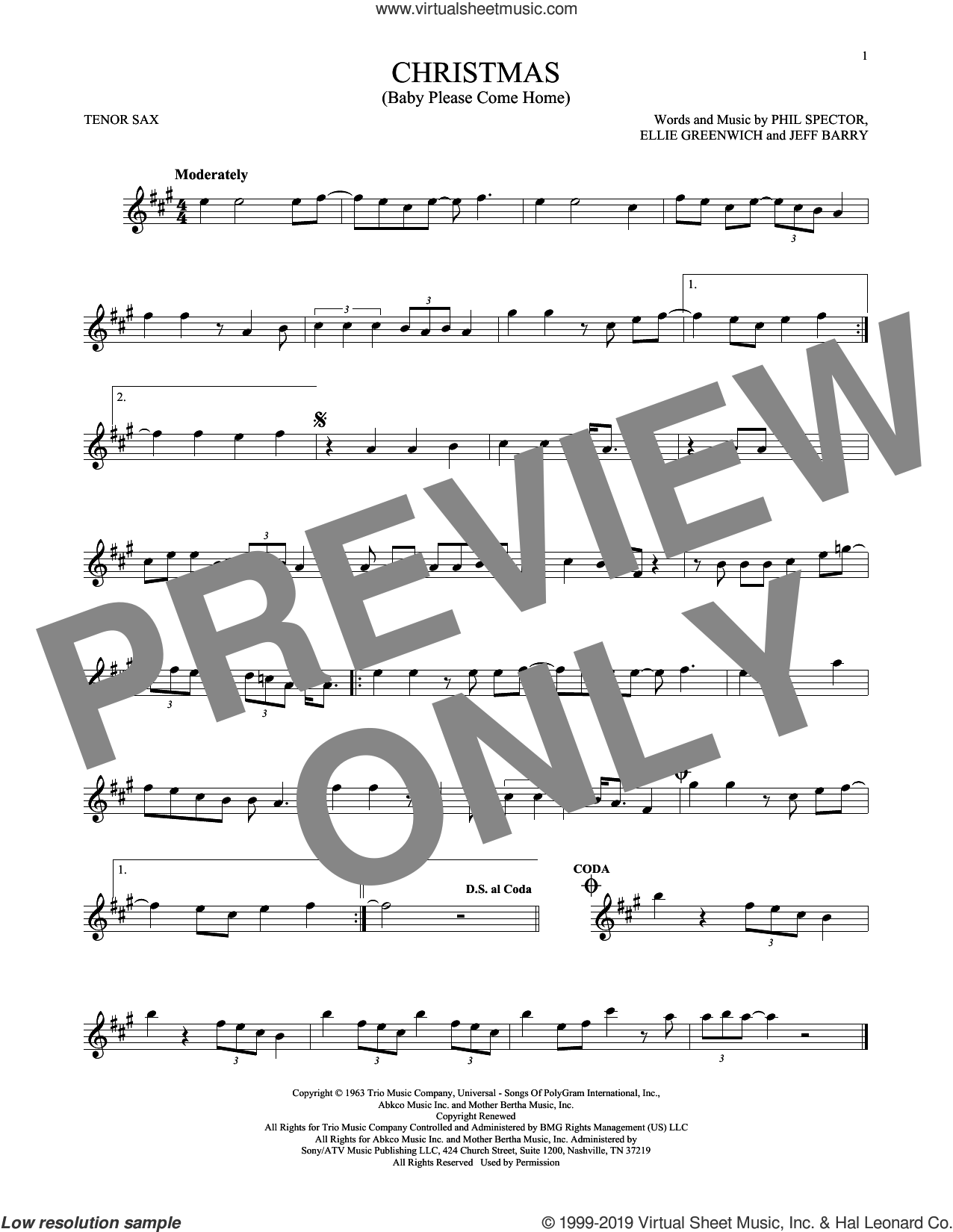 Christmas (Baby Please Come Home) sheet music for tenor saxophone solo by Mariah Carey, Ellie Greenwich, Jeff Barry and Phil Spector, intermediate skill level