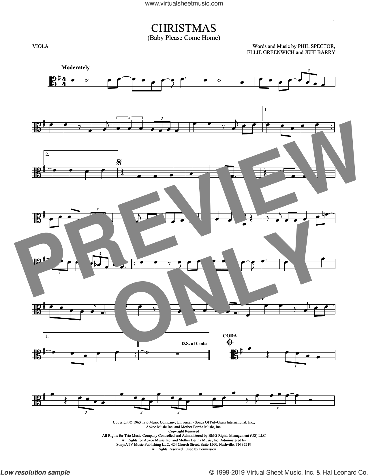 Christmas (Baby Please Come Home) sheet music for viola solo by Mariah Carey, Ellie Greenwich, Jeff Barry and Phil Spector, intermediate skill level