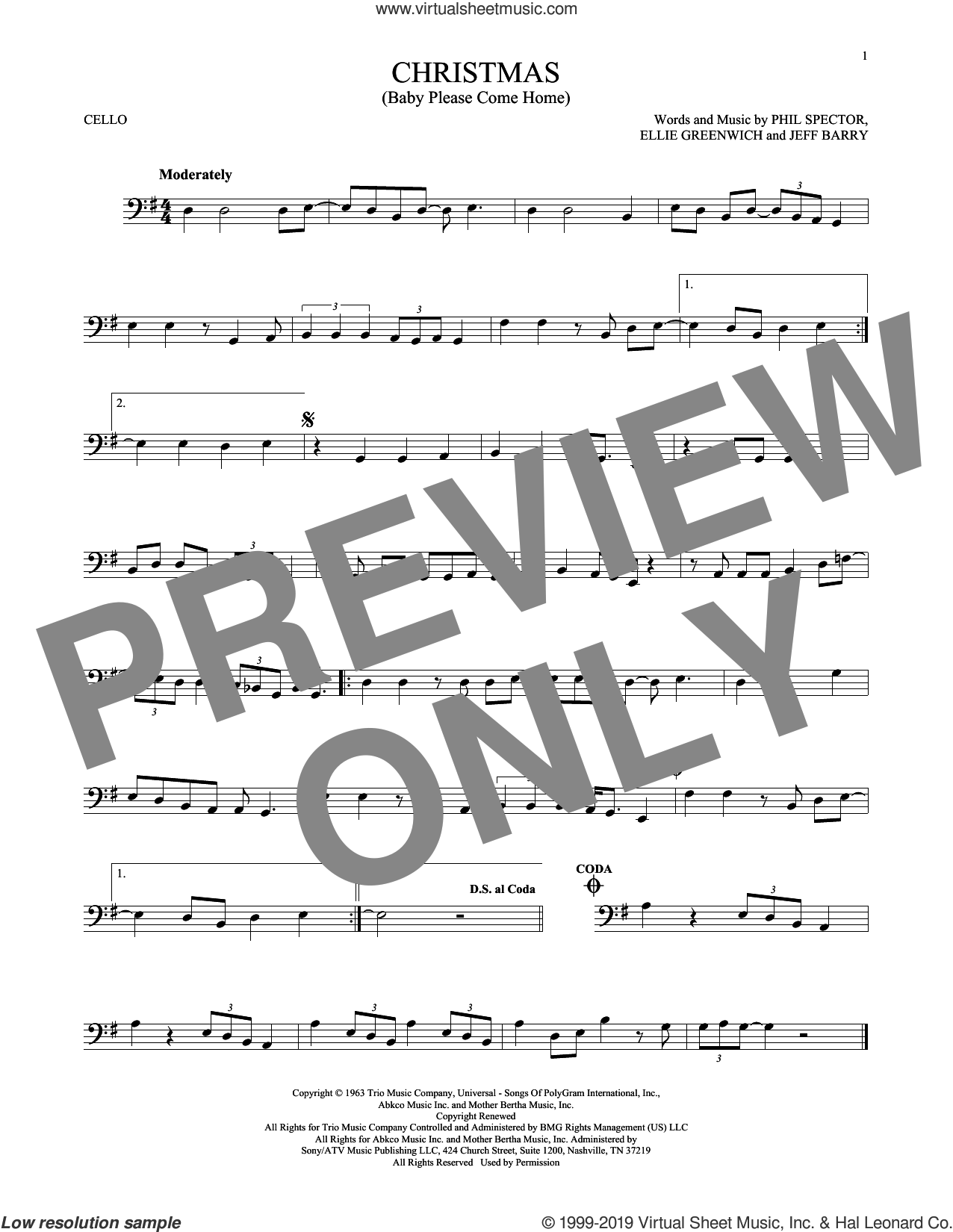 Christmas (Baby Please Come Home) sheet music for cello solo by Mariah Carey, Ellie Greenwich, Jeff Barry and Phil Spector, intermediate skill level