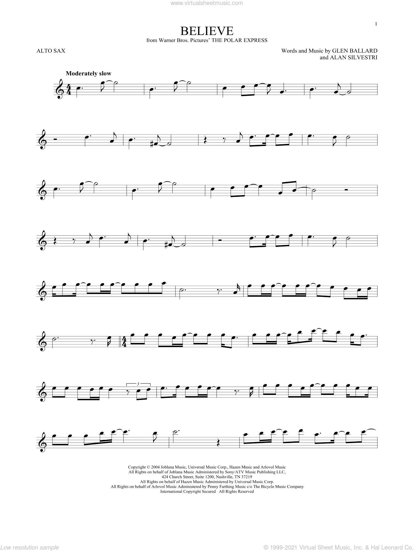 Believe (from The Polar Express) sheet music for alto saxophone solo by Josh Groban, Alan Silvestri and Glen Ballard, intermediate skill level
