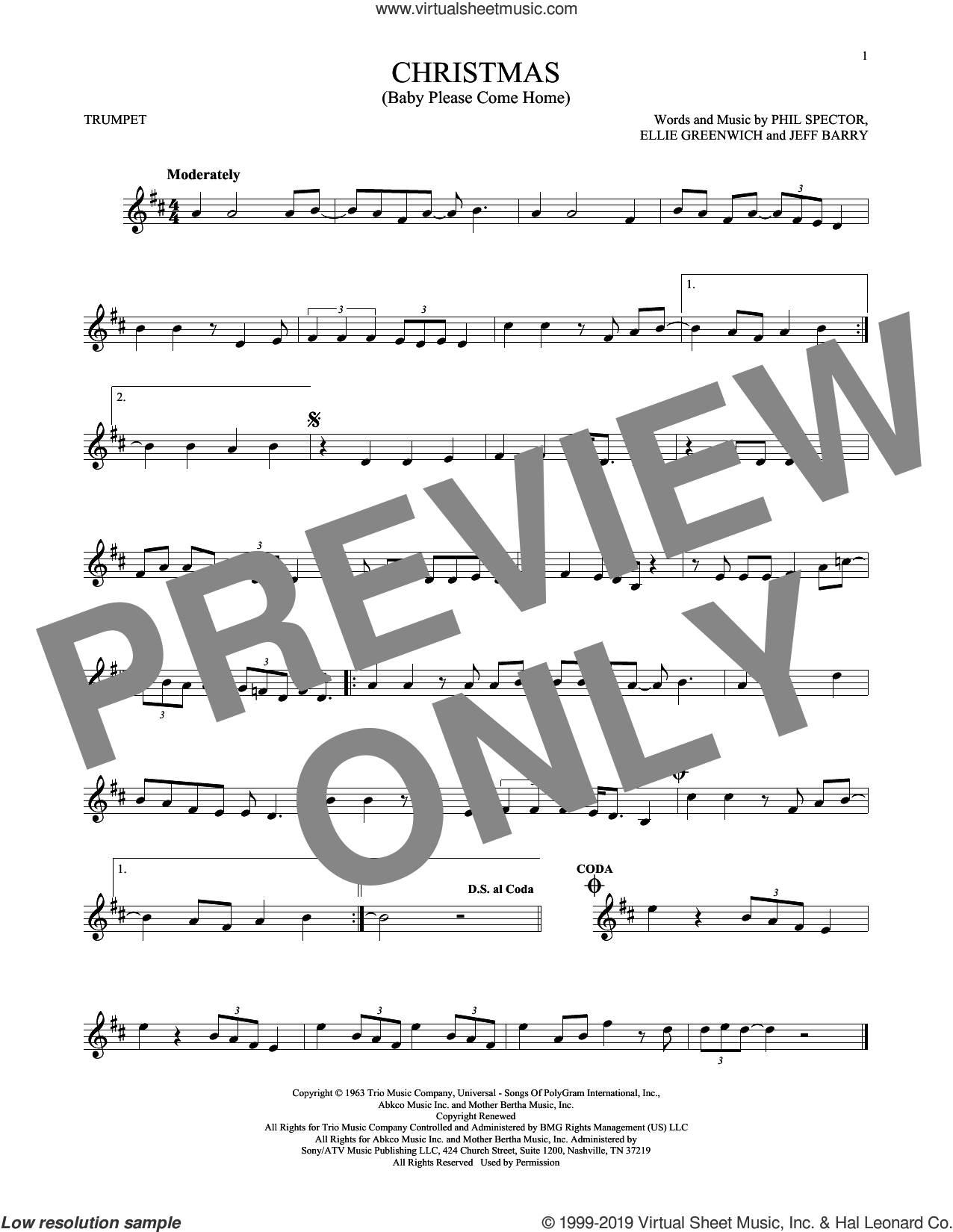 Christmas (Baby Please Come Home) sheet music for trumpet solo by Mariah Carey, Ellie Greenwich, Jeff Barry and Phil Spector, intermediate skill level