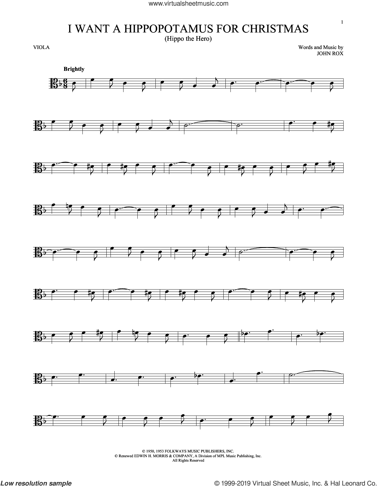 I Want A Hippopotamus For Christmas (Hippo The Hero) sheet music for viola solo by Gayla Peevey and John Rox, intermediate skill level
