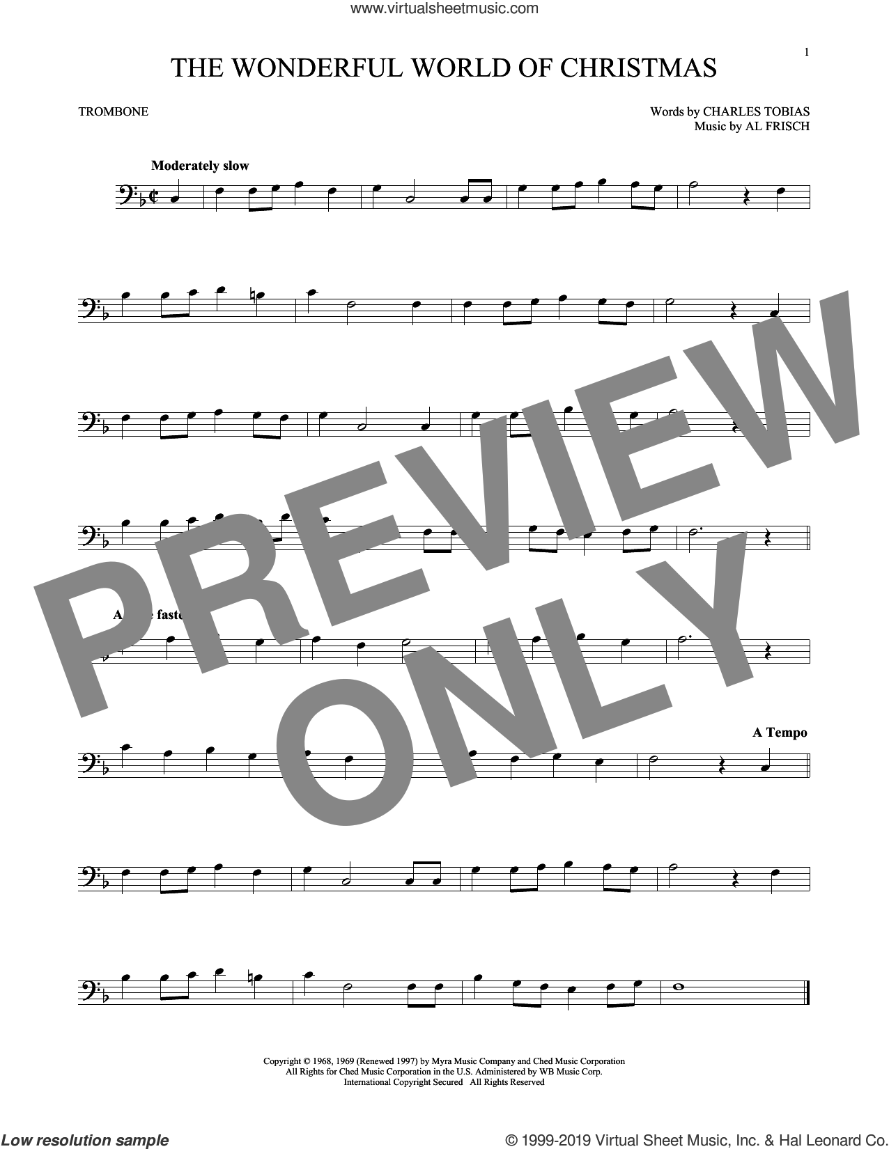 The Wonderful World Of Christmas sheet music for trombone solo by Elvis Presley, Al Frisch and Charles Tobias, intermediate skill level