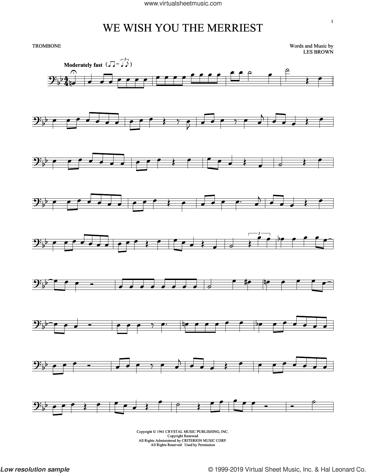 We Wish You The Merriest sheet music for trombone solo by Frank Sinatra and Les Brown, intermediate skill level