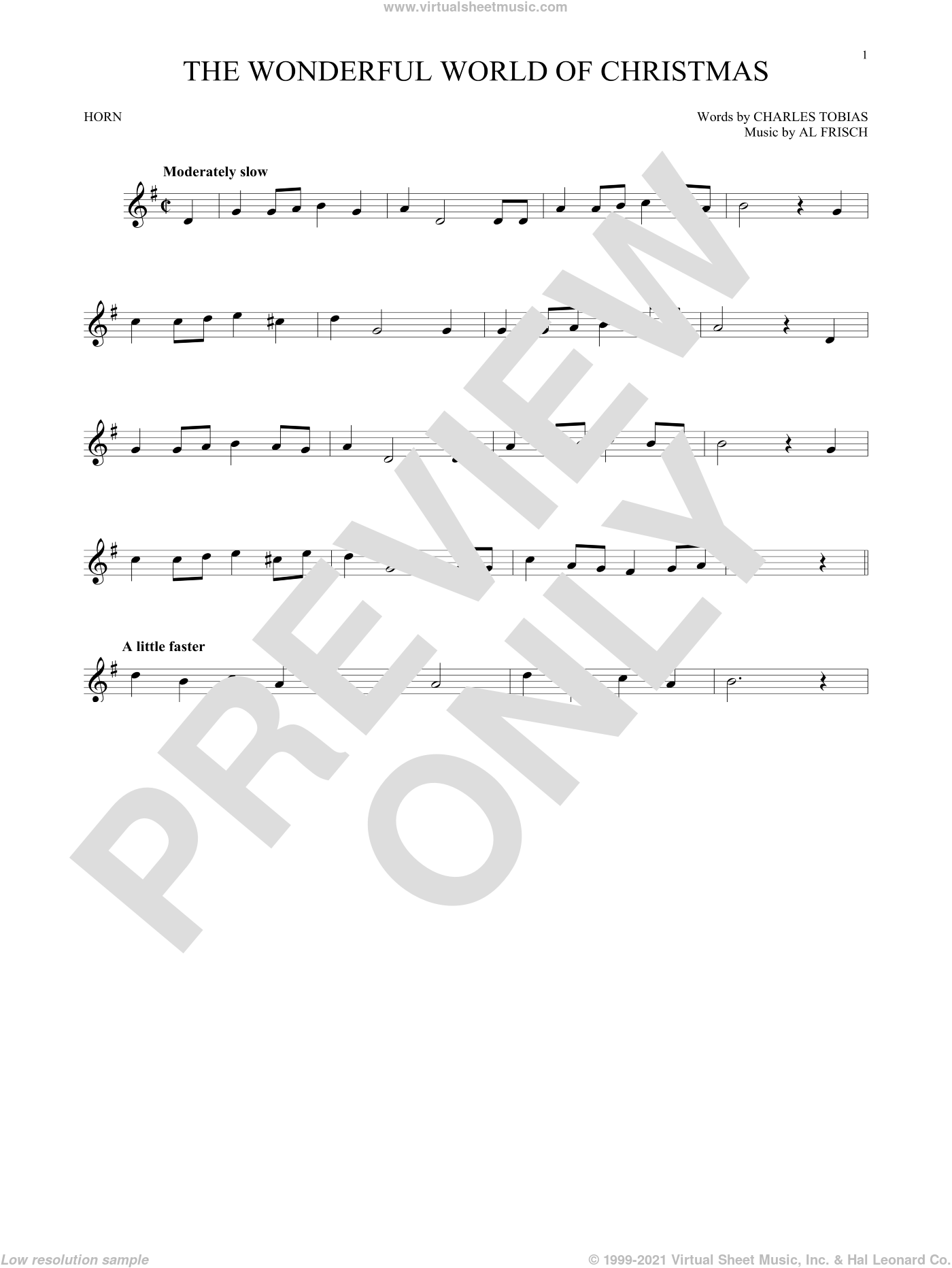 The Wonderful World Of Christmas sheet music for horn solo by Elvis Presley, Al Frisch and Charles Tobias, intermediate skill level