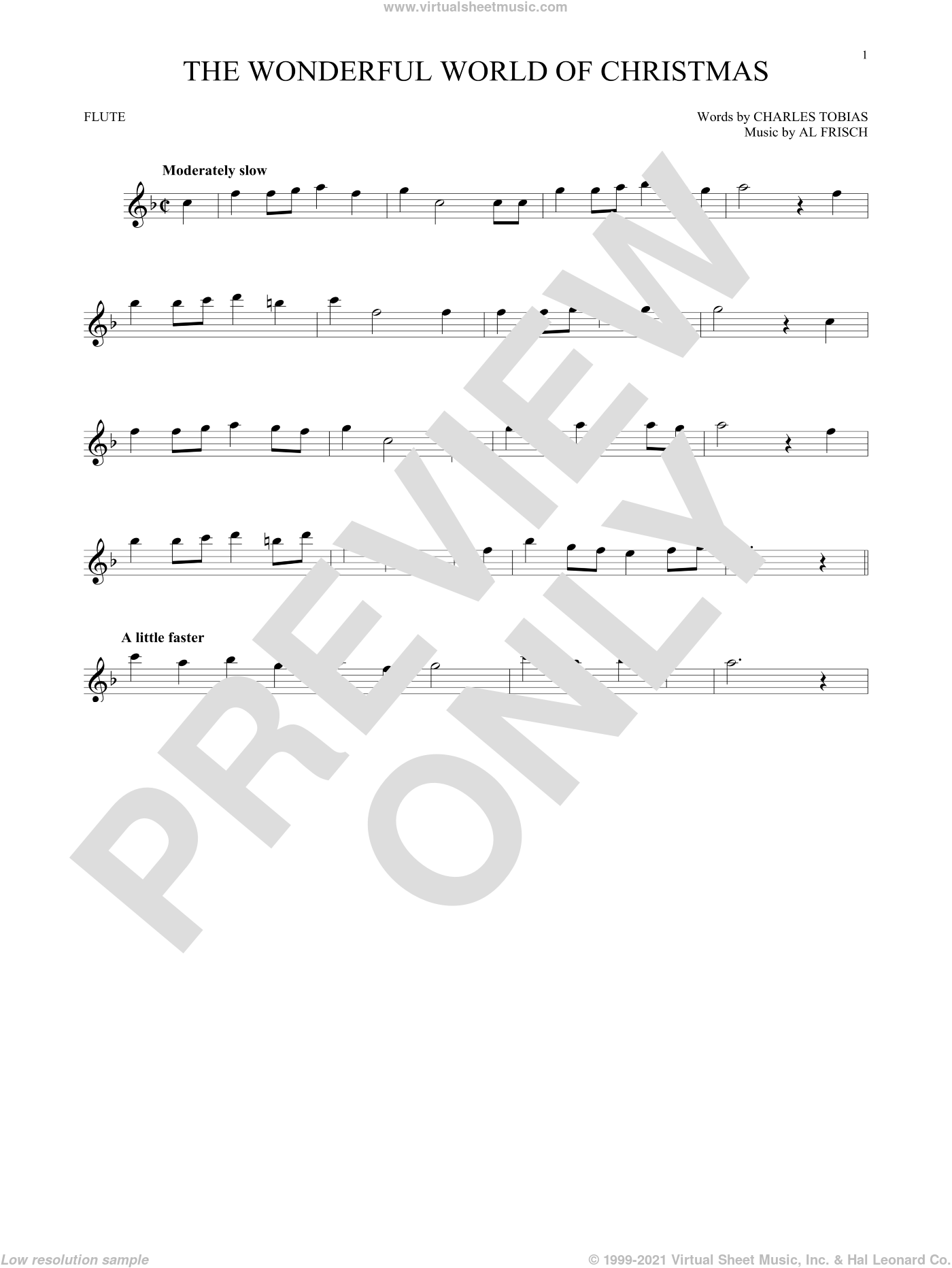 The Wonderful World Of Christmas sheet music for flute solo by Elvis Presley, Al Frisch and Charles Tobias, intermediate skill level