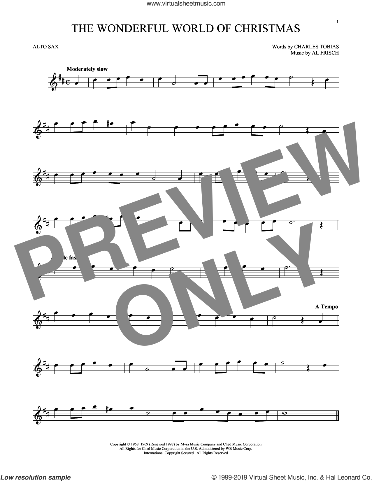 The Wonderful World Of Christmas sheet music for alto saxophone solo by Elvis Presley, Al Frisch and Charles Tobias, intermediate skill level