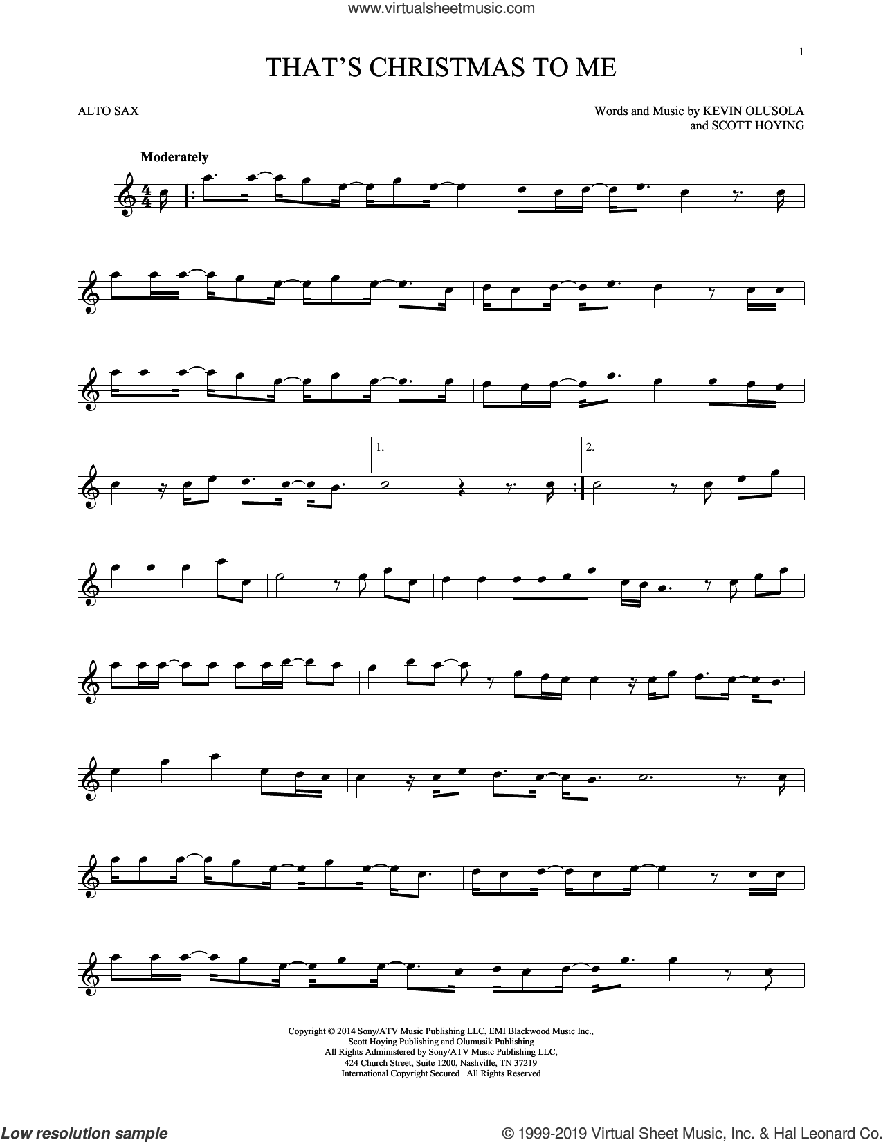 That's Christmas To Me sheet music for alto saxophone solo by Pentatonix, Kevin Olusola and Scott Hoying, intermediate skill level