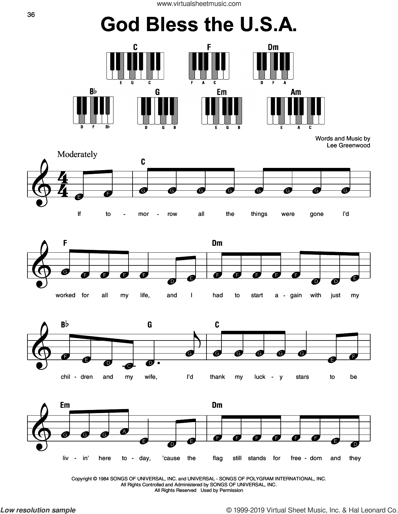 God Bless The U.S.A. sheet music for piano solo by Lee Greenwood, beginner skill level