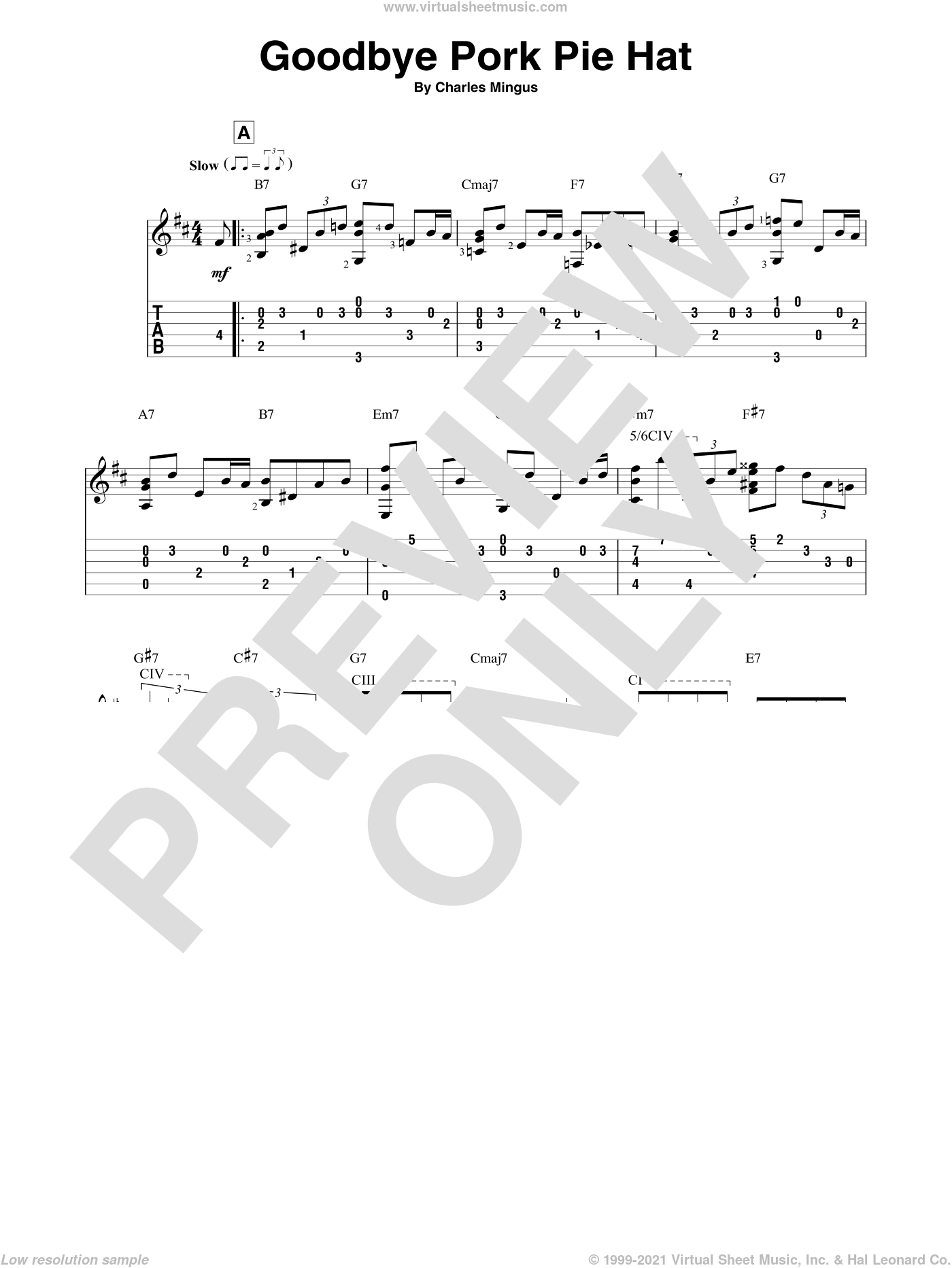 Goodbye Pork Pie Hat sheet music for guitar solo by Charles Mingus, intermediate skill level