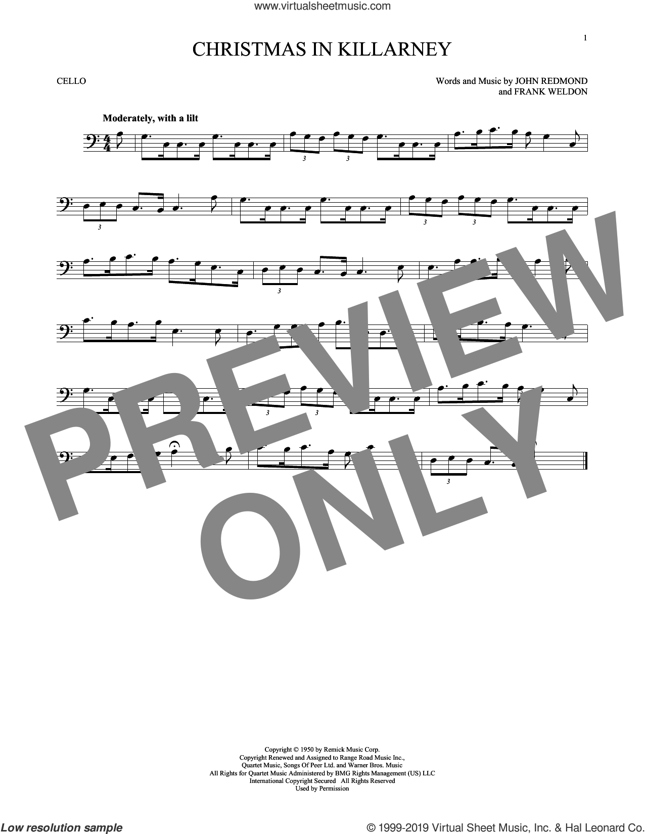 Christmas In Killarney sheet music for cello solo by John Redmond, Frank Weldon and John Redmond & Frank Weldon, intermediate skill level