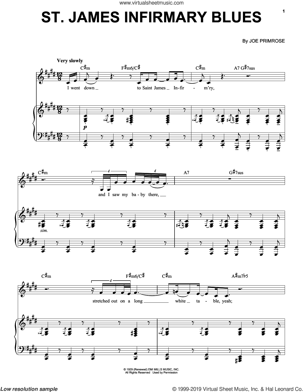 Saint James Infirmary Blues sheet music for voice, piano or guitar by Jon Batiste and Joe Primrose, intermediate skill level