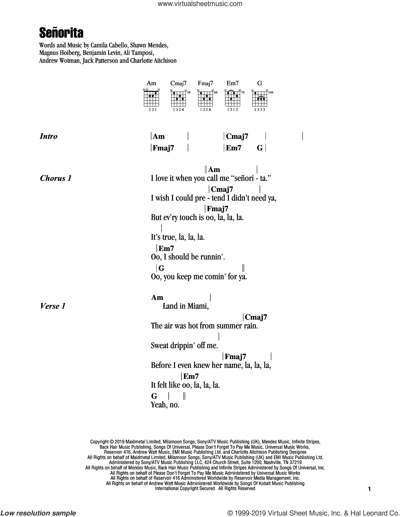 Senorita sheet music for guitar (chords) by Shawn Mendes and Camila Cabello and Shawn Mendes & Camila Cabello, Ali Tamposi, Andrew Wotman, Benjamin Levin, Camila Cabello, Charlotte Aitchison, Jack Patterson, Magnus Hoiberg and Shawn Mendes, intermediate skill level