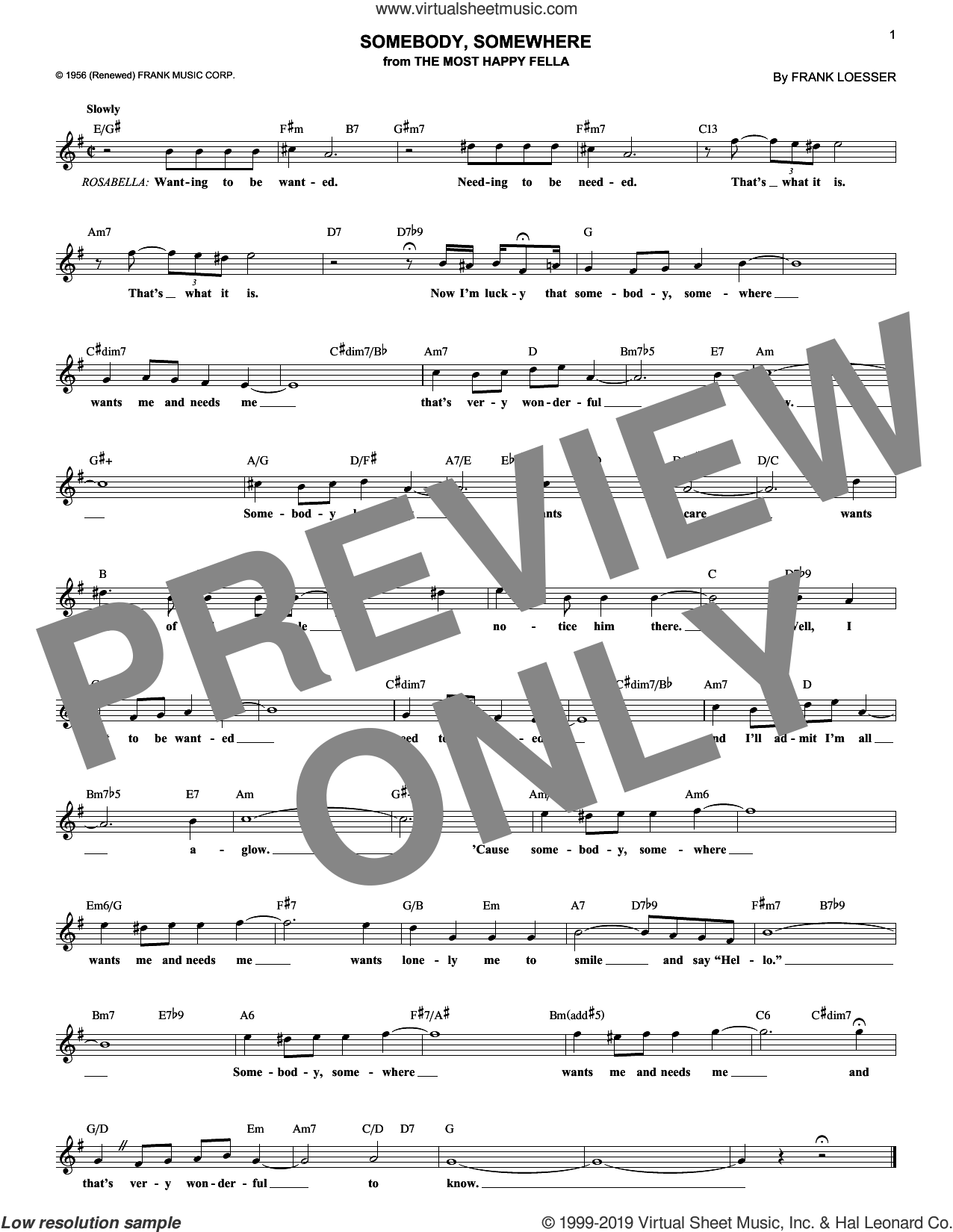 Somebody, Somewhere (from The Most Happy Fella) sheet music for voice and other instruments (fake book) by Frank Loesser, classical score, intermediate skill level