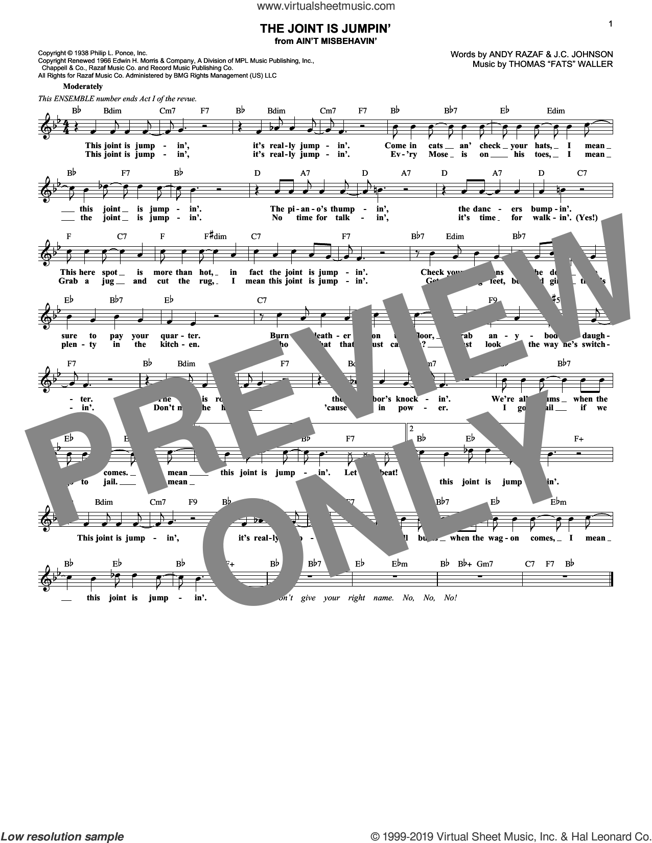 The Joint Is Jumpin' (from Ain't Misbehavin') sheet music for voice and other instruments (fake book) by Andy Razaf, Thomas Waller and J.C. Johnson, intermediate skill level
