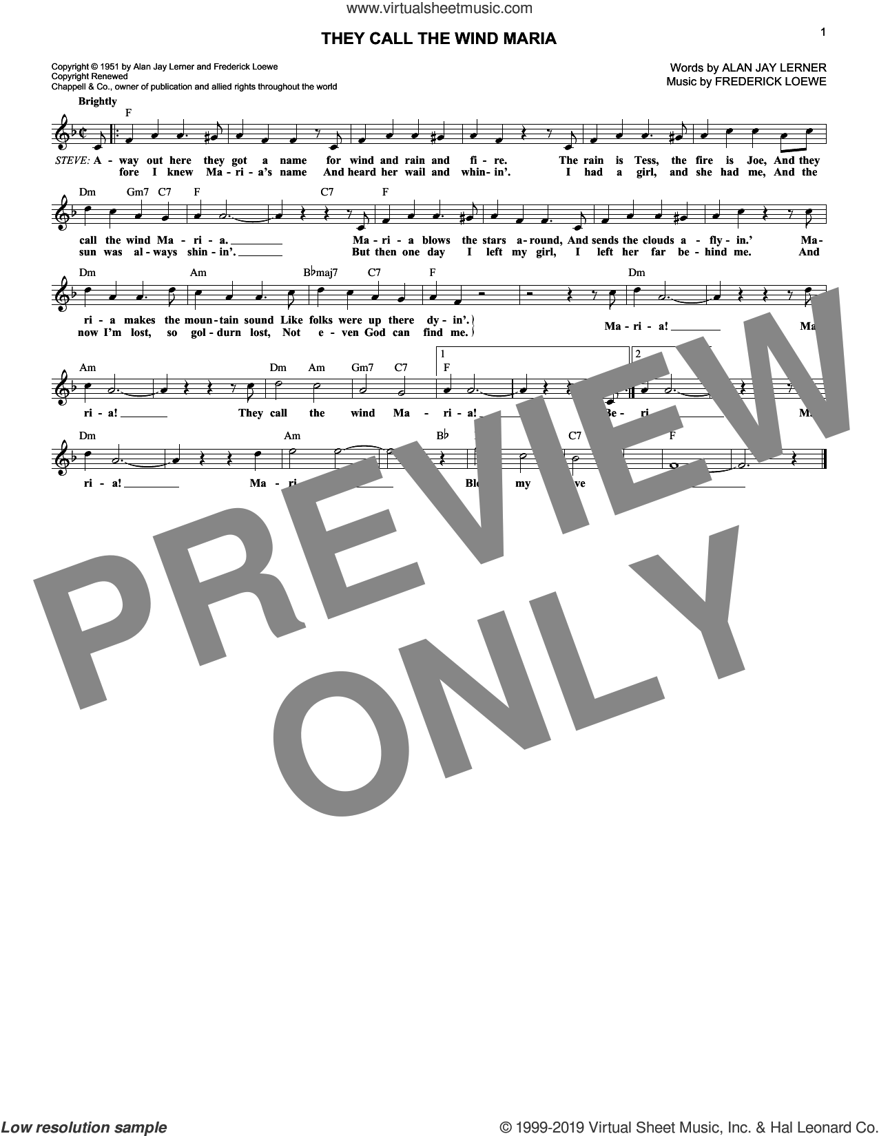 They Call The Wind Maria (from Paint Your Wagon) sheet music for voice and other instruments (fake book) by Lerner & Loewe, Alan Jay Lerner and Frederick Loewe, intermediate skill level