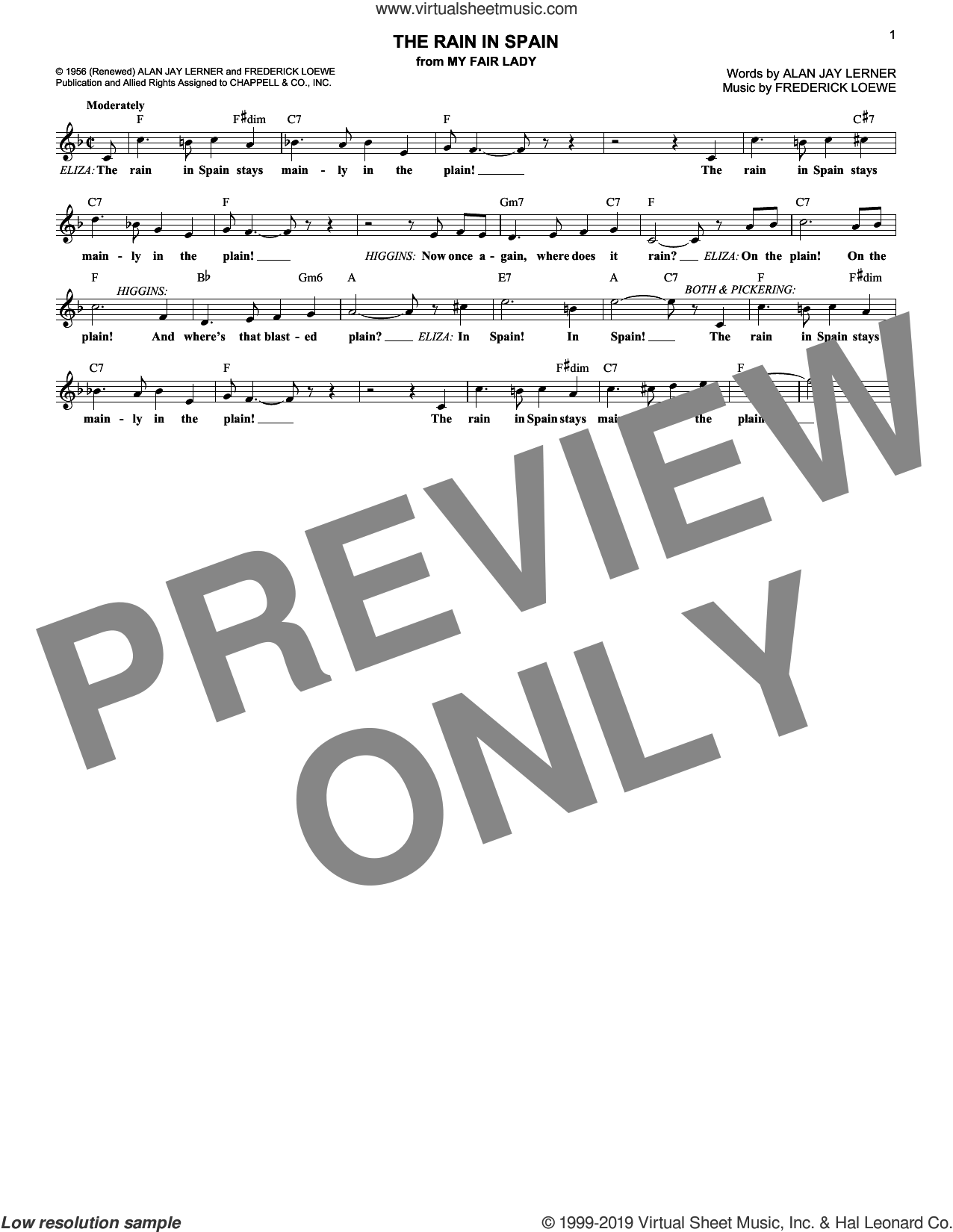 The Rain In Spain (from My Fair Lady) sheet music for voice and other instruments (fake book) by Lerner & Loewe, Alan Jay Lerner and Frederick Loewe, intermediate skill level