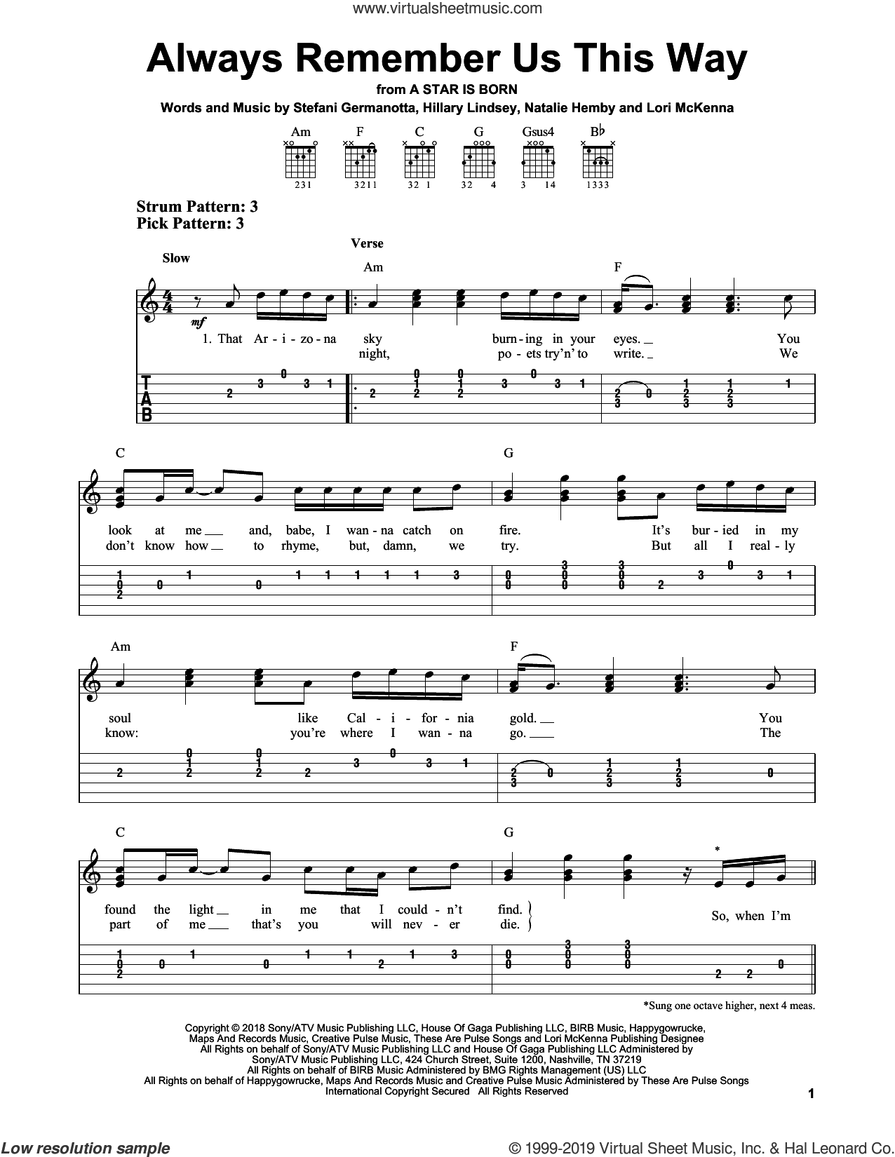 Always Remember Us This Way (from A Star Is Born) sheet music for guitar solo (easy tablature) by Lady Gaga, Hillary Lindsey, Lori McKenna and Natalie Hemby, easy guitar (easy tablature)