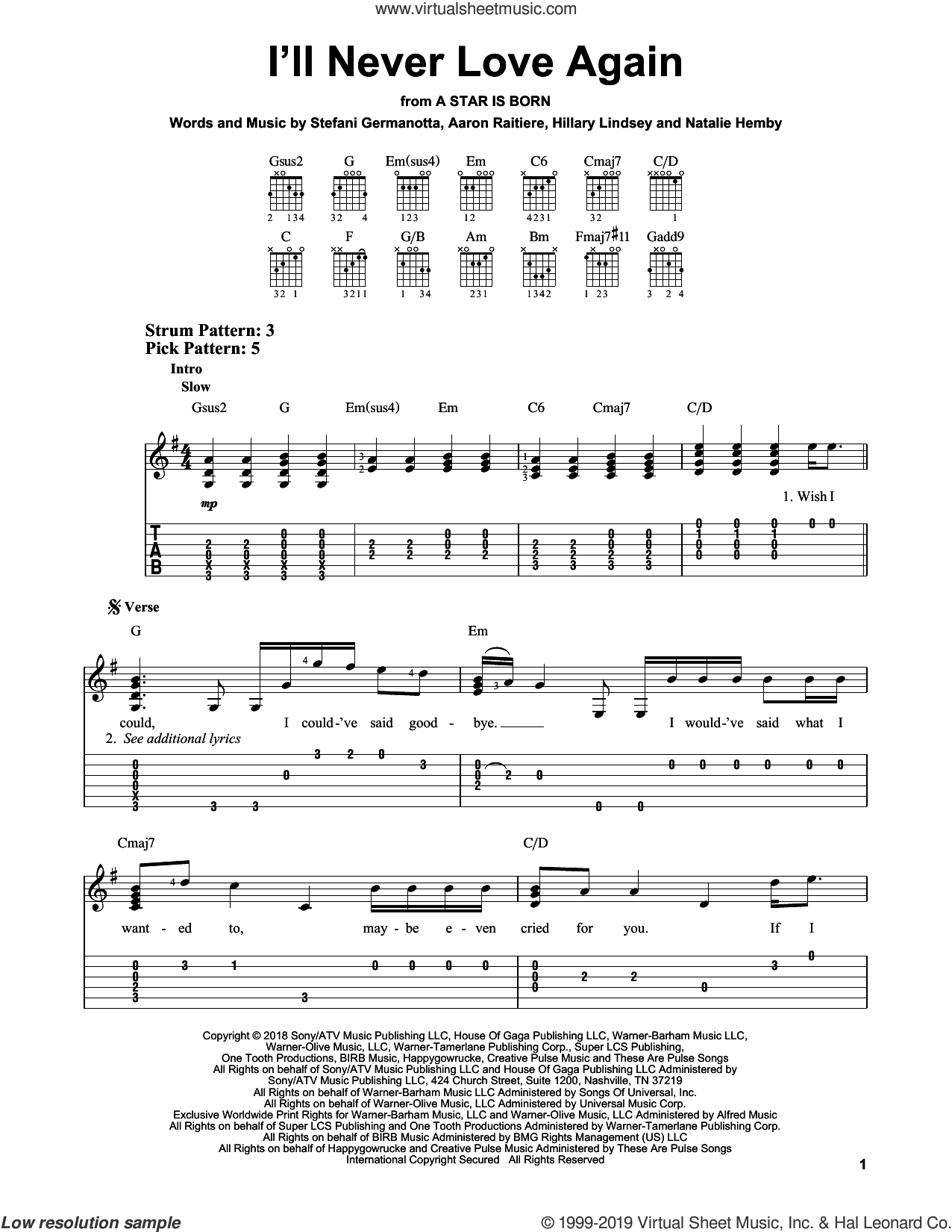 I'll Never Love Again (from A Star Is Born) sheet music for guitar solo (easy tablature) by Lady Gaga, Aaron Raitiere, Hillary Lindsey and Natalie Hemby, easy guitar (easy tablature)