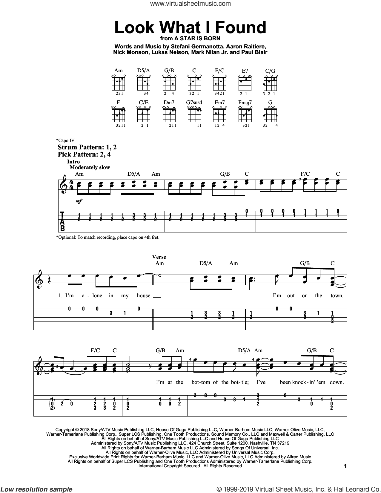 Look What I Found (from A Star Is Born) sheet music for guitar solo (easy tablature) by Lady Gaga, Aaron Raitiere, Lukas Nelson, Mark Nilan Jr., Nick Monson and Paul Blair, easy guitar (easy tablature)
