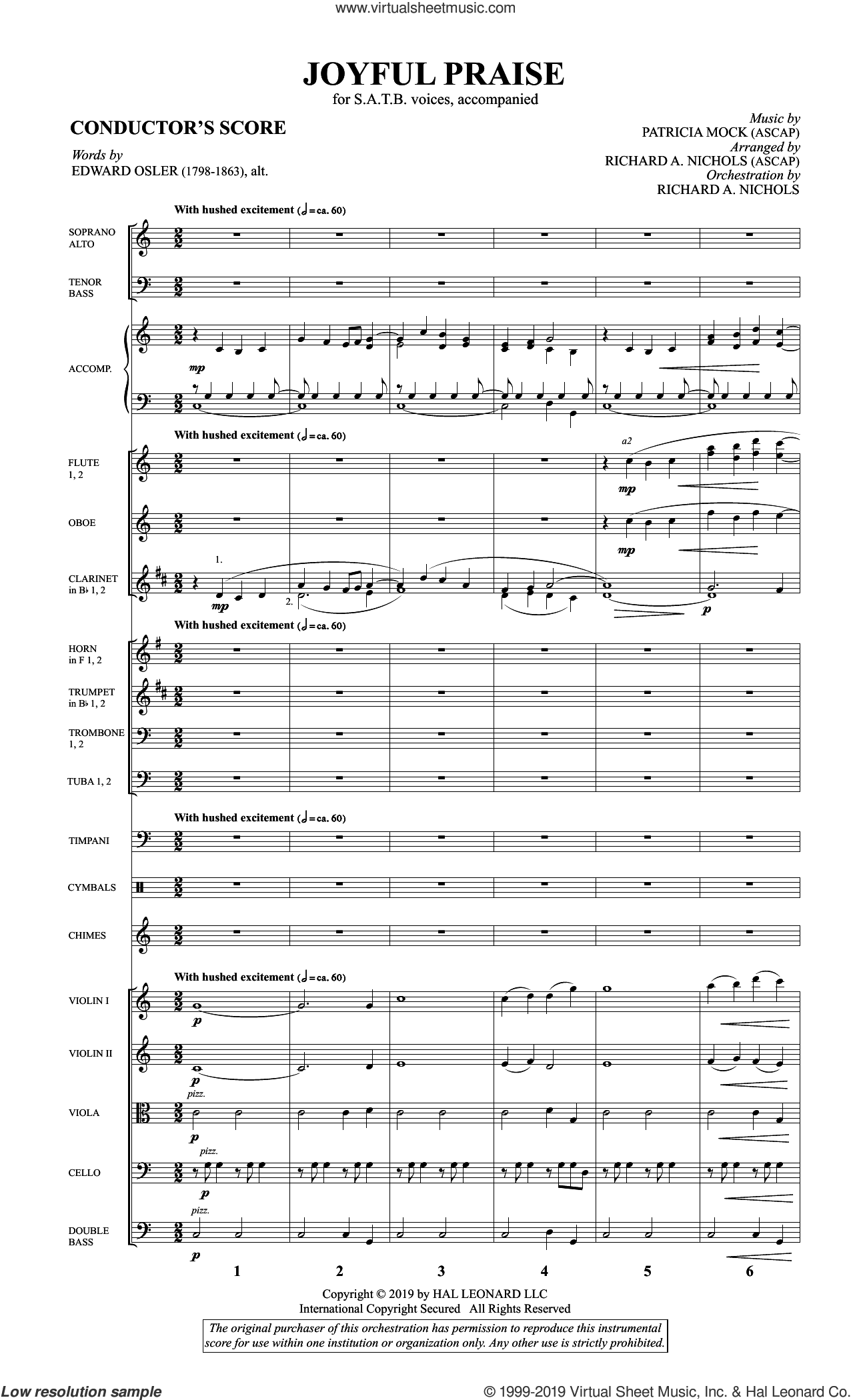 Joyful Praise (COMPLETE) sheet music for orchestra/band by Patricia Mock, Richard A. Nichols and The Psalter, intermediate skill level