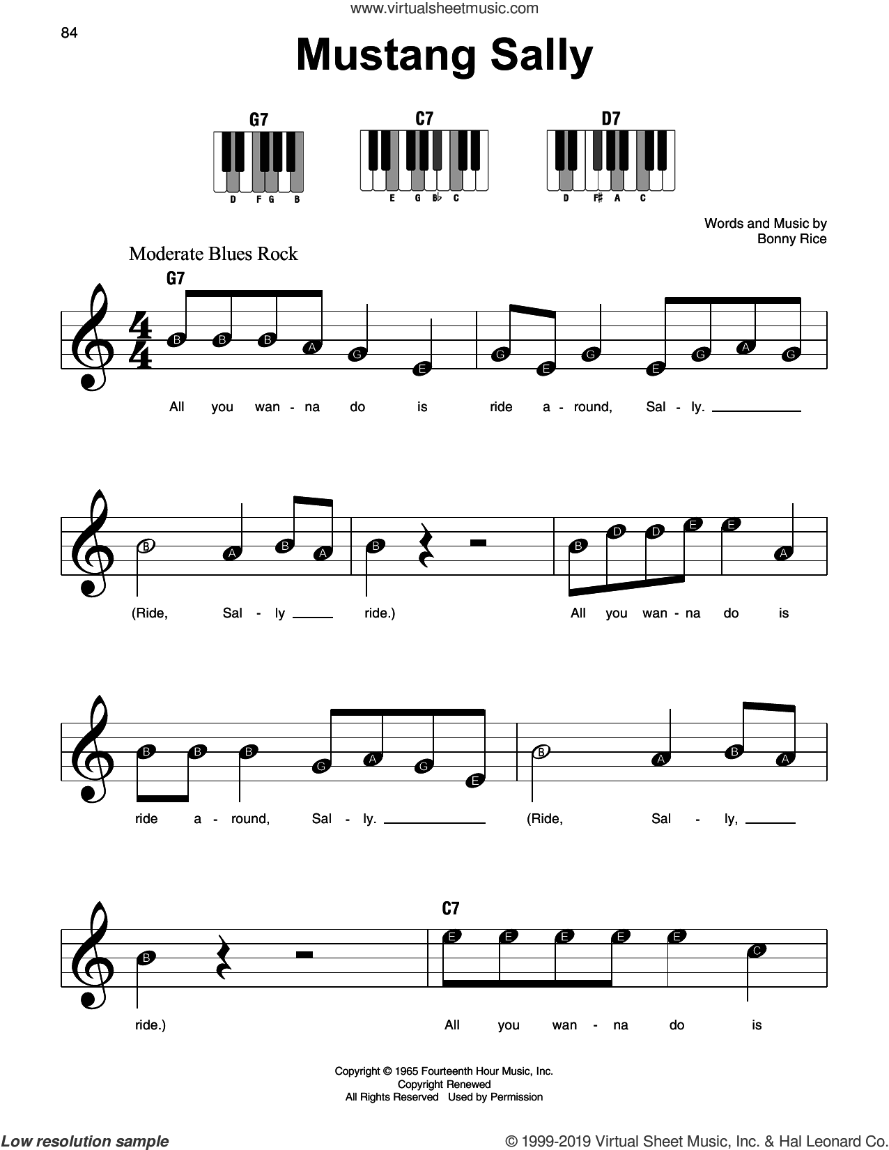 Mustang Sally sheet music for piano solo by Wilson Pickett and Bonny Rice, beginner skill level