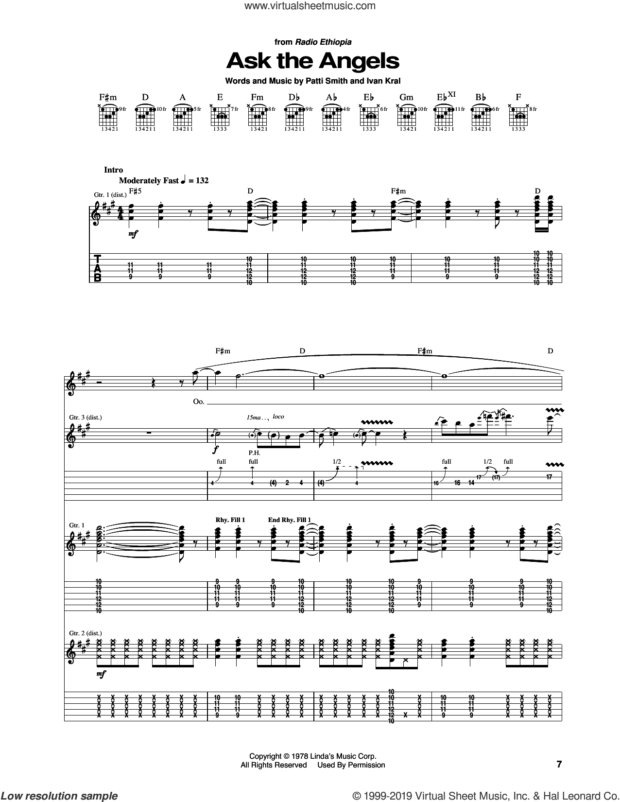 Ask The Angels sheet music for guitar (tablature) by Patti Smith and Ivan Kral, intermediate skill level