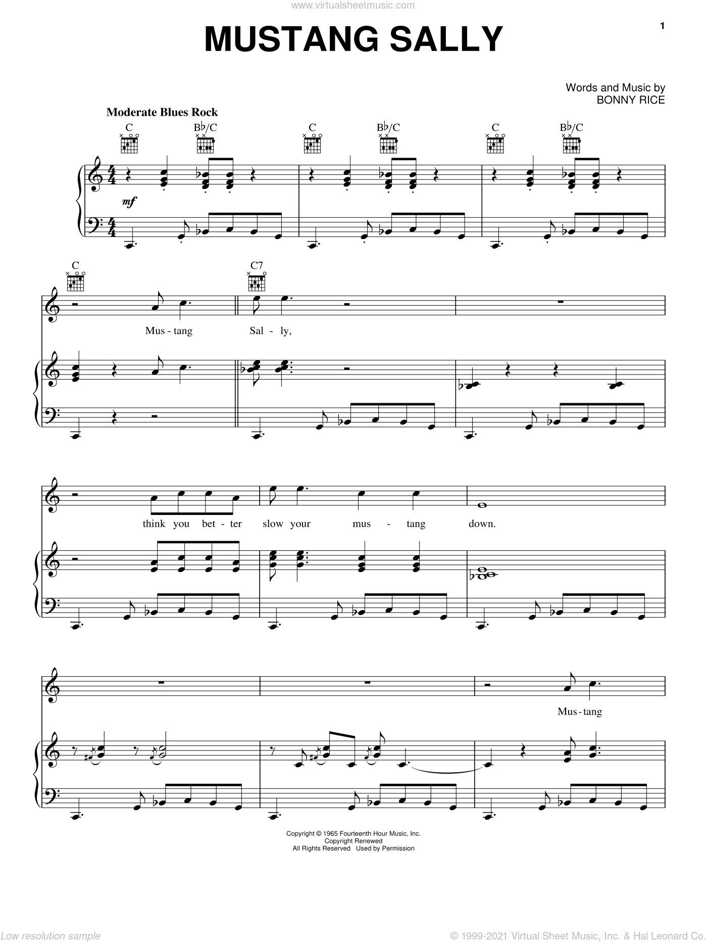 Mustang Sally sheet music for voice, piano or guitar by Wilson Pickett and Bonny Rice, intermediate skill level