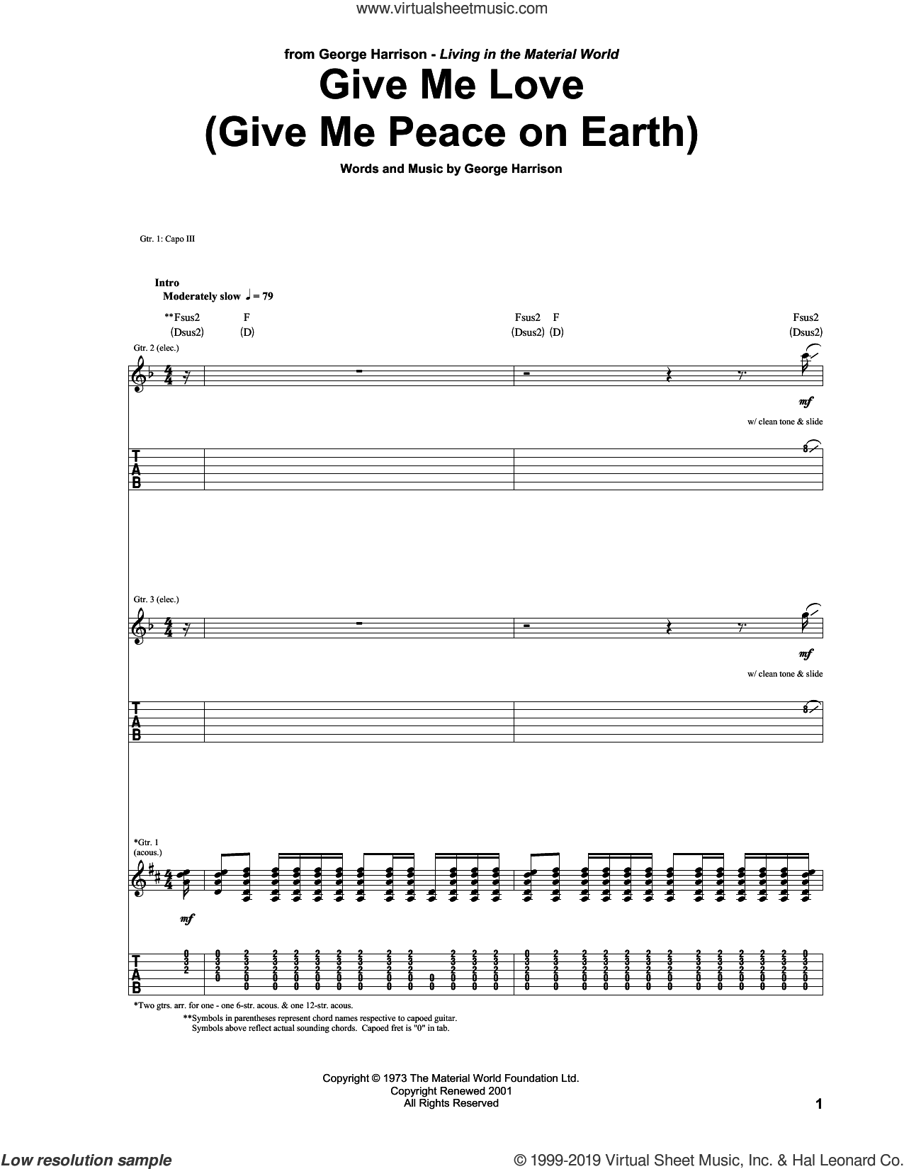 Give Me Love (Give Me Peace On Earth) sheet music for guitar (tablature) by George Harrison, intermediate skill level