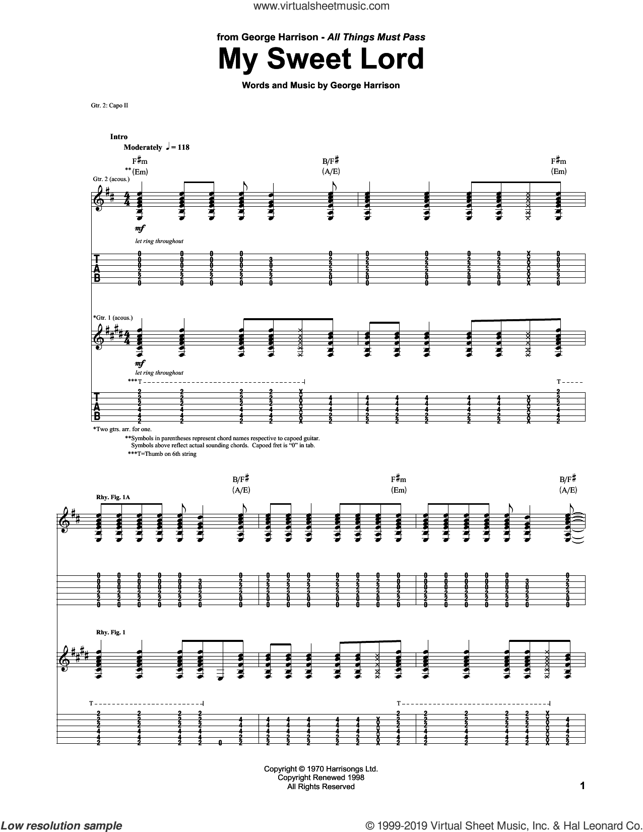 My Sweet Lord sheet music for guitar (tablature) by George Harrison, intermediate skill level
