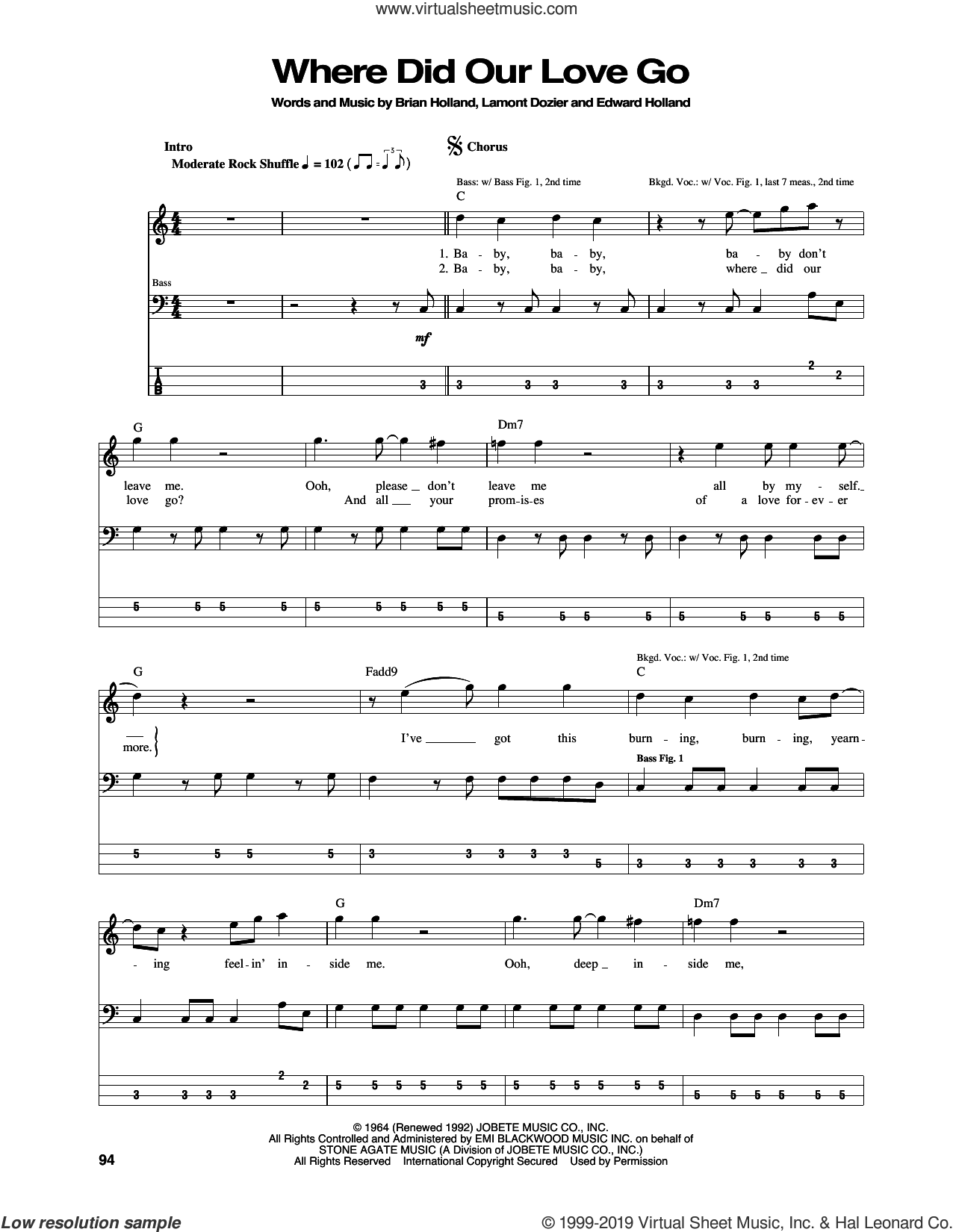 Where Did Our Love Go sheet music for bass (tablature) (bass guitar) by The Supremes, Brian Holland, Eddie Holland and Lamont Dozier, intermediate skill level