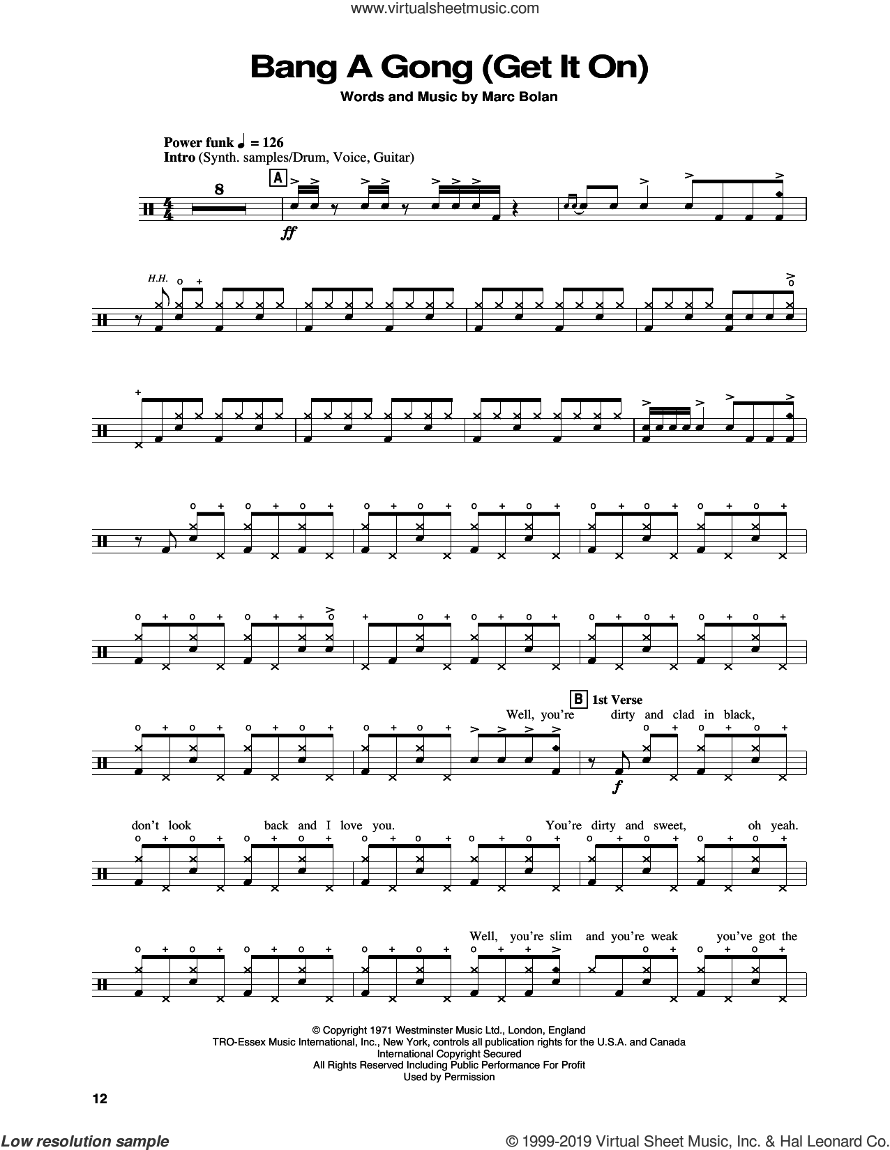 Bang A Gong (Get It On) sheet music for drums by Power Station and Marc Bolan, intermediate skill level