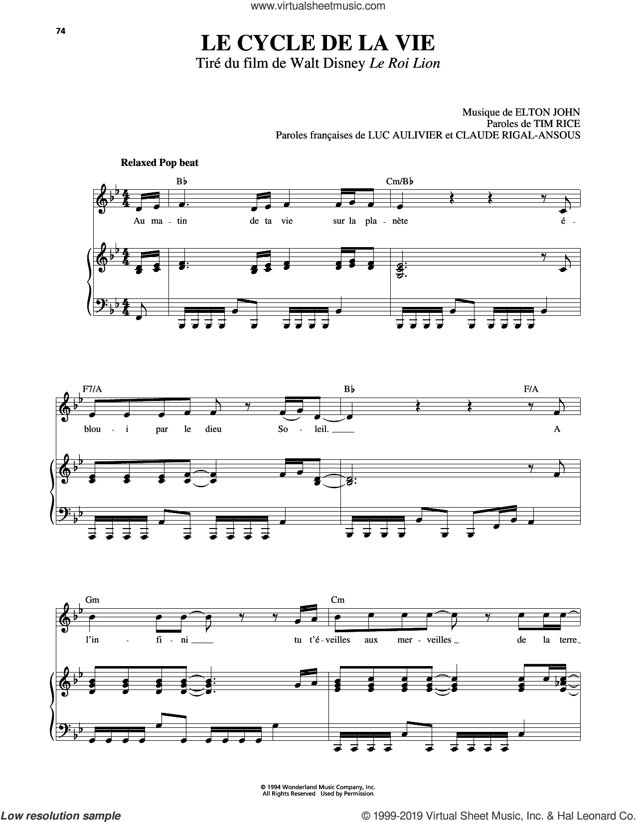 Circle Of Life (from The Lion King) [French version] sheet music for voice, piano or guitar by Elton John and Tim Rice, intermediate skill level