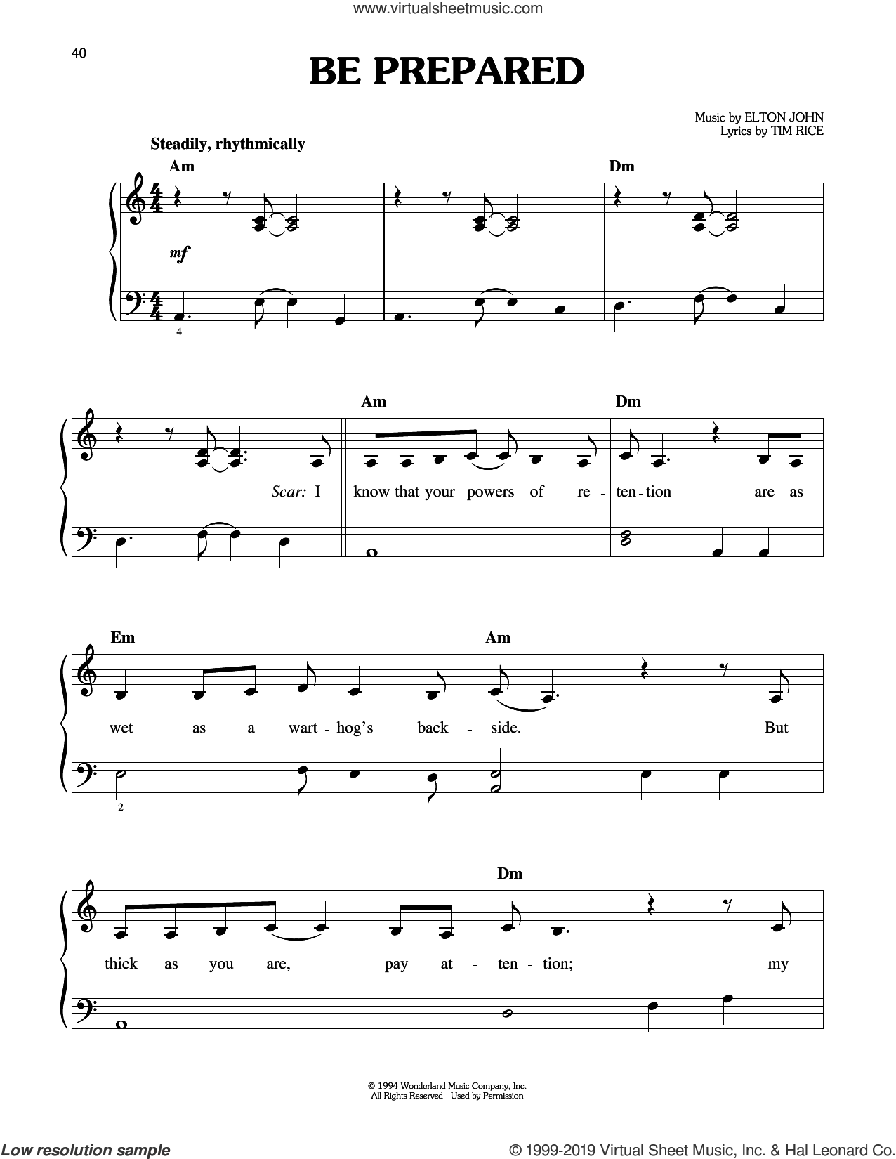 Be Prepared (from The Lion King: Broadway Musical) sheet music for piano solo by Elton John and Tim Rice, easy skill level
