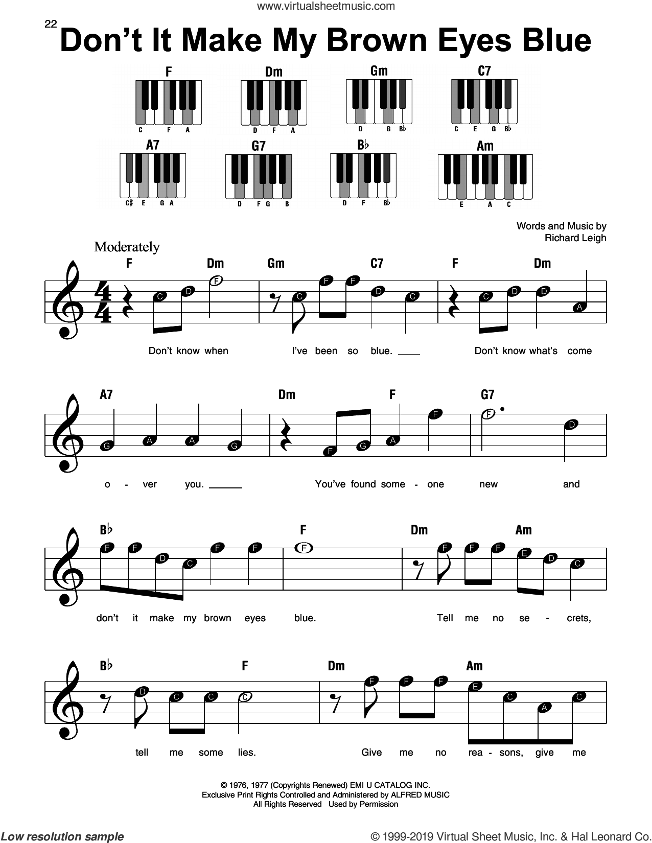Don't It Make My Brown Eyes Blue sheet music for piano solo by Crystal Gayle and Richard Leigh, beginner skill level