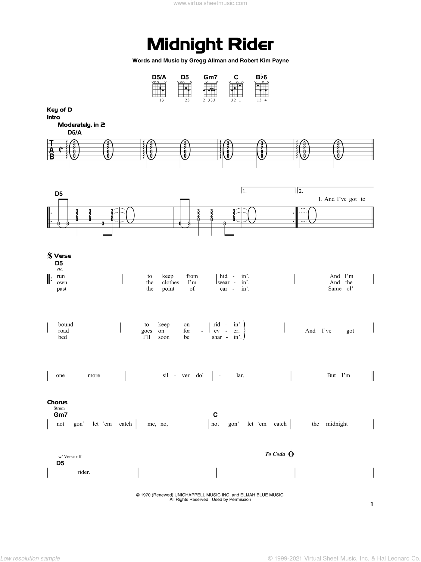 Midnight Rider sheet music for guitar solo by The Allman Brothers Band, Gregg Allman and Robert Kim Payne, beginner skill level