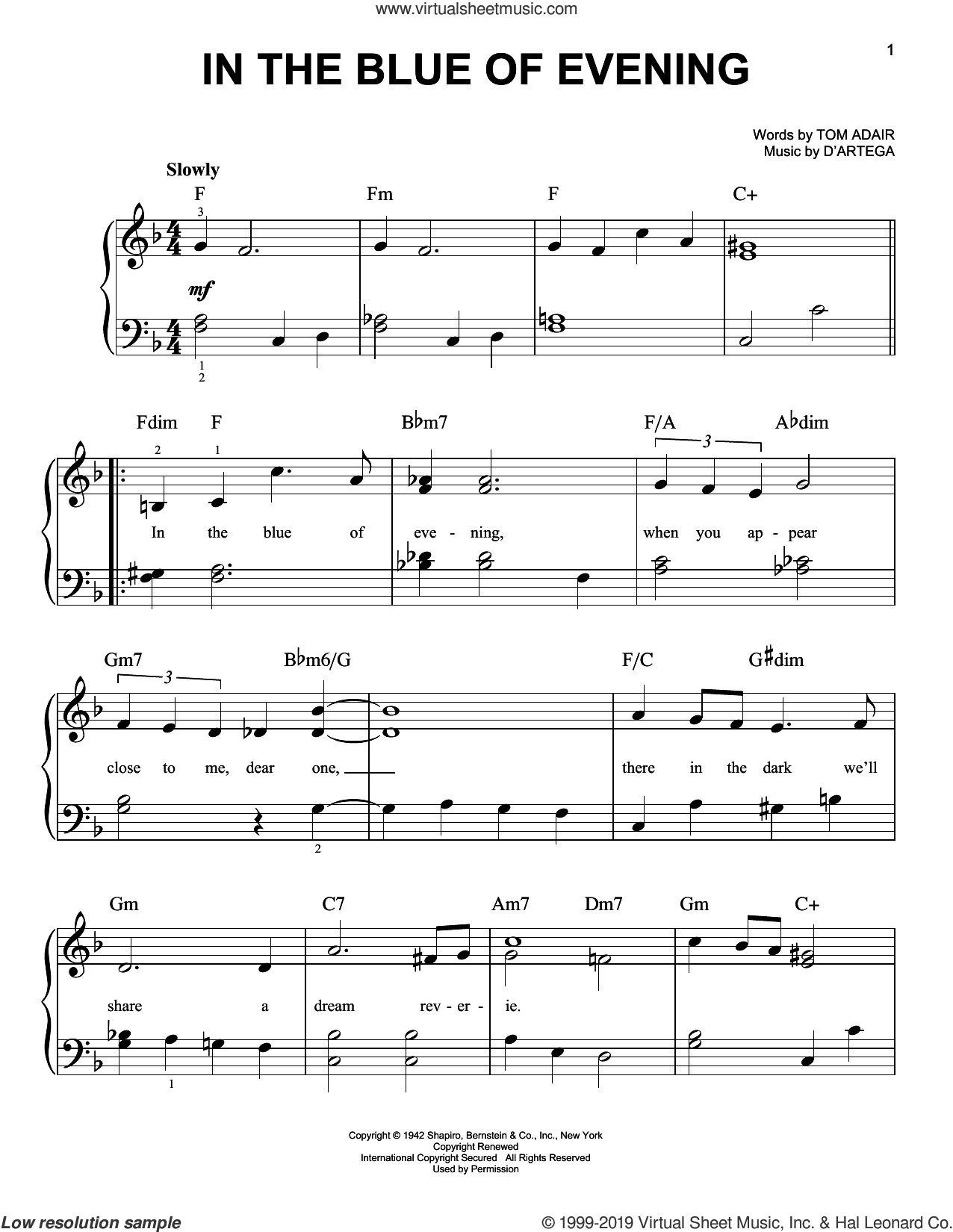 In The Blue Of Evening sheet music for piano solo by D'Artega and Tom Adair, easy skill level