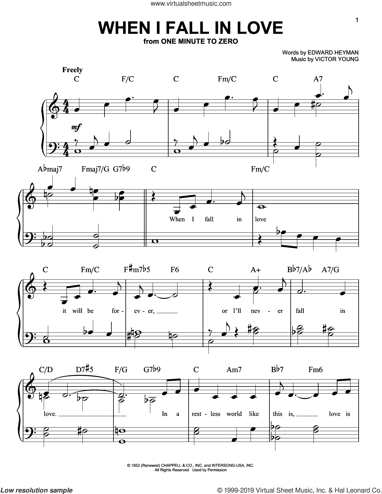 When I Fall In Love sheet music for piano solo by Nat King Cole, Edward Heyman and Victor Young, easy skill level