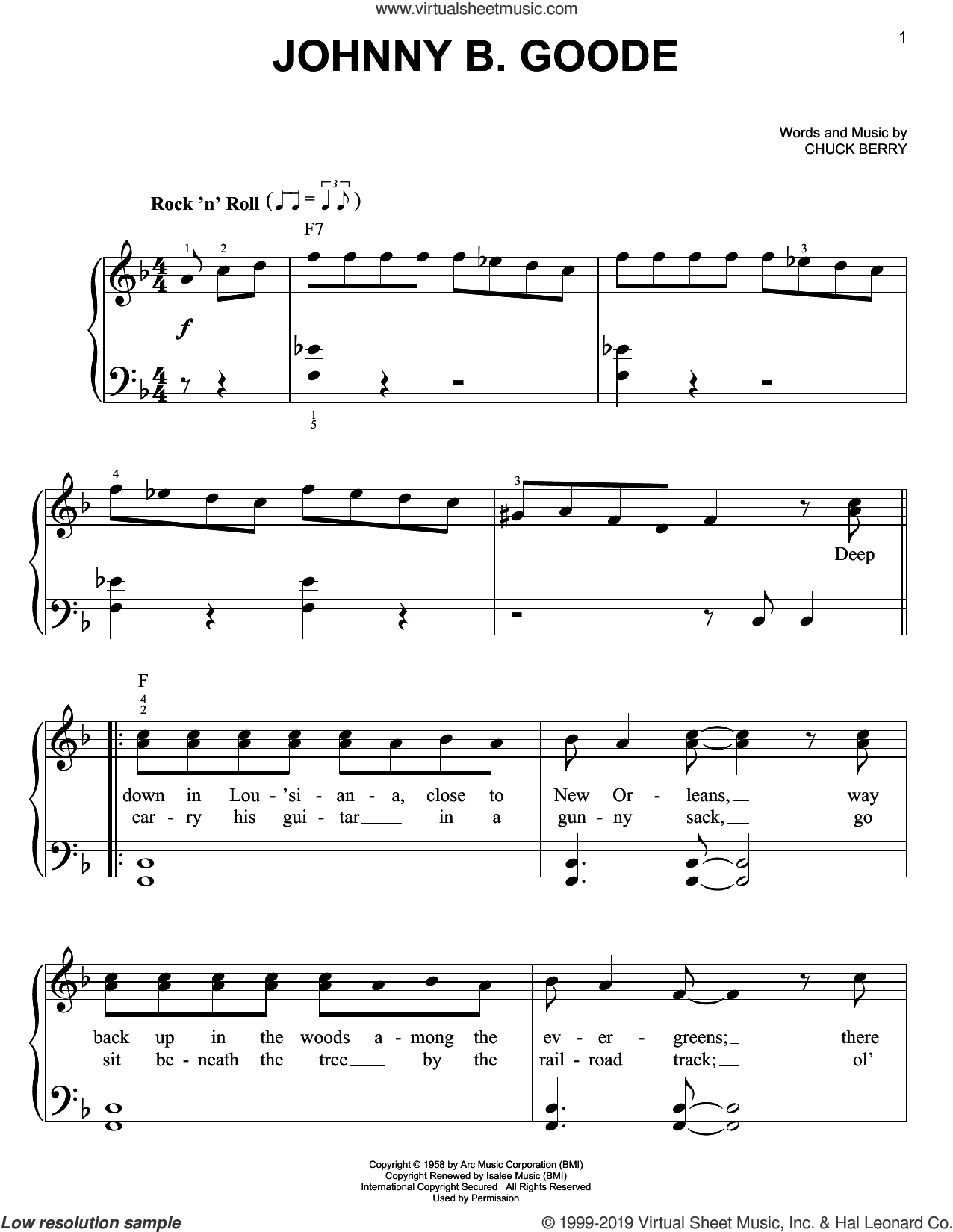 Johnny B. Goode sheet music for piano solo by Chuck Berry, easy skill level