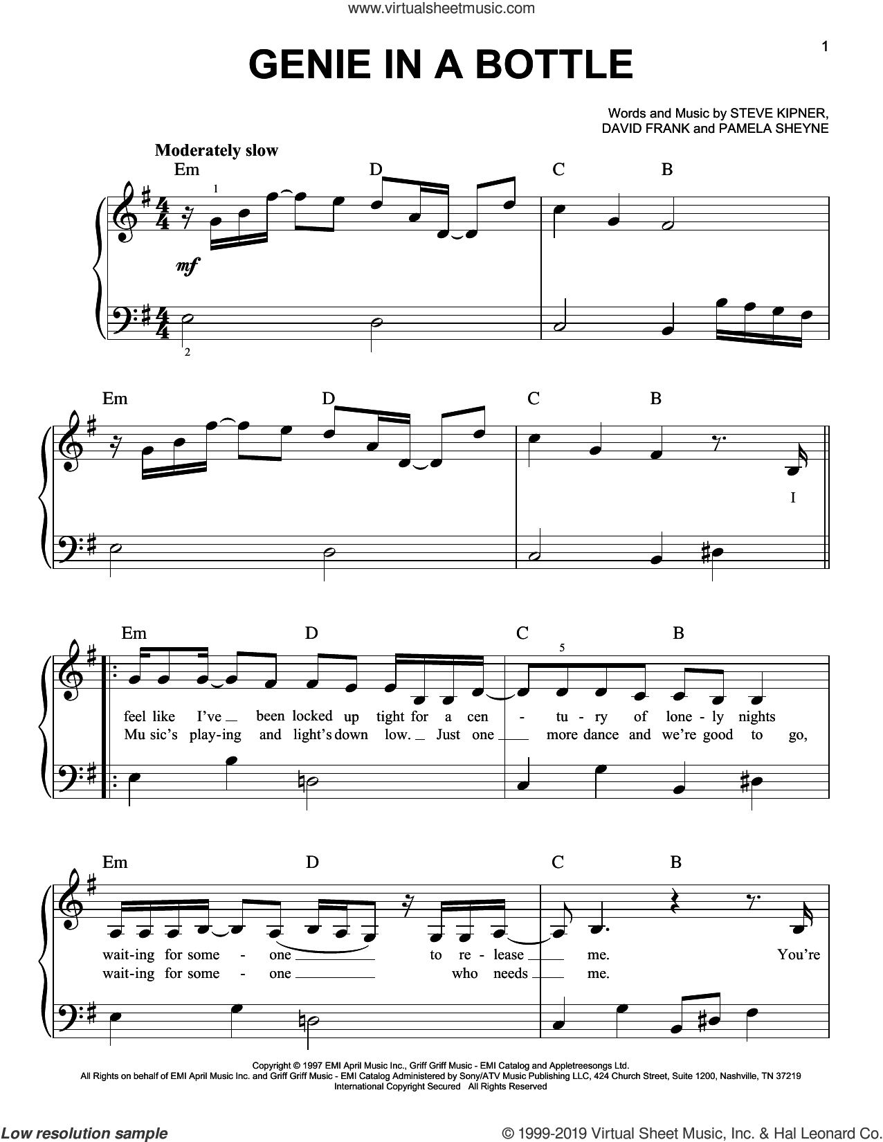 Genie In A Bottle sheet music for piano solo by Christina Aguilera, David Frank, Pam Sheyne and Steve Kipner, easy skill level