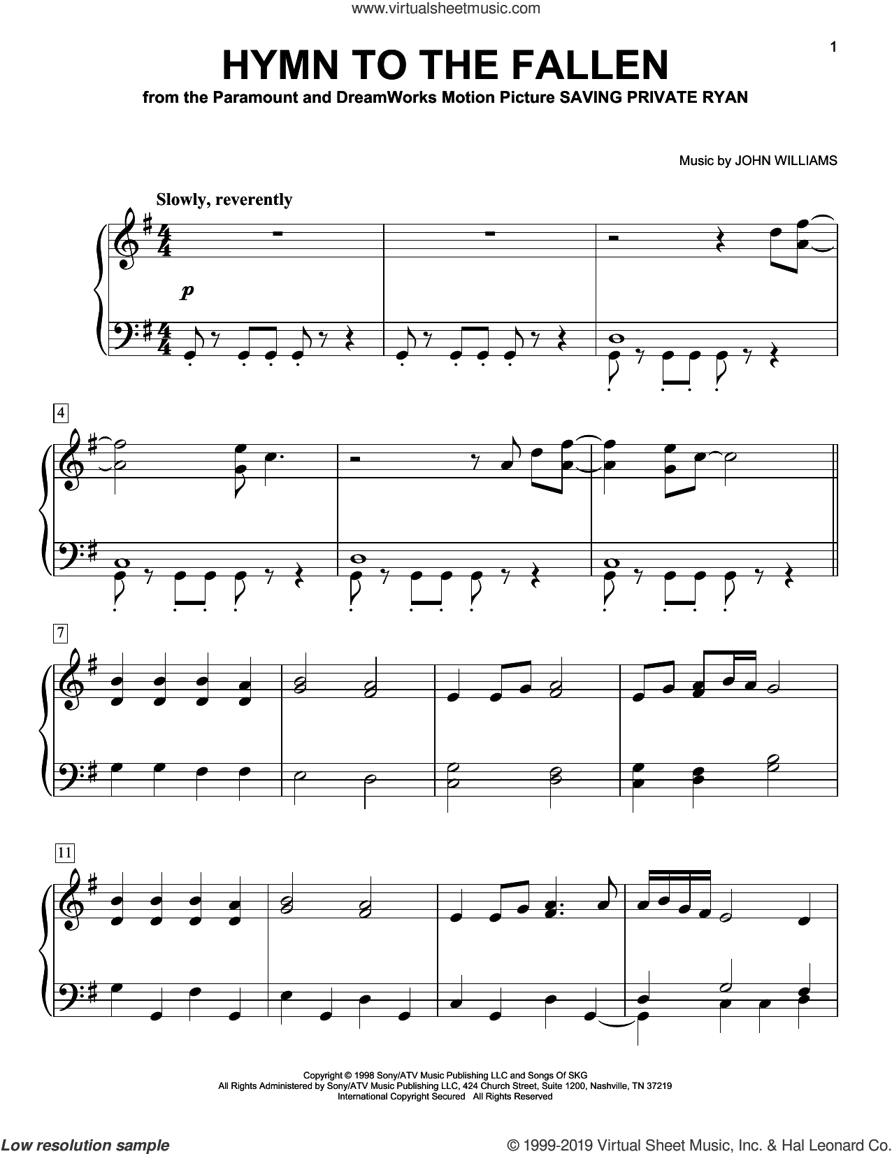 Hymn To The Fallen (from Saving Private Ryan), (easy) sheet music for piano solo by John Williams, easy skill level