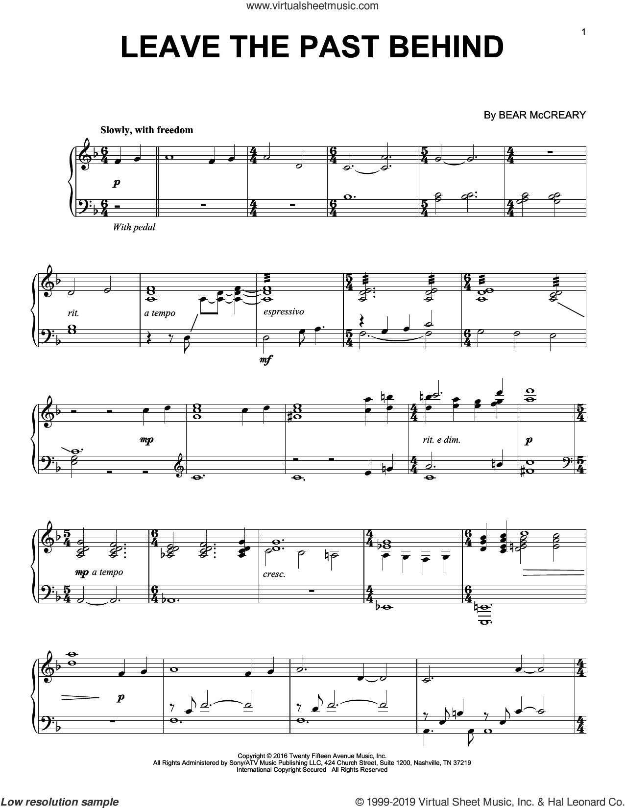 Leave The Past Behind (from Outlander) sheet music for piano solo by Bear McCreary, intermediate skill level