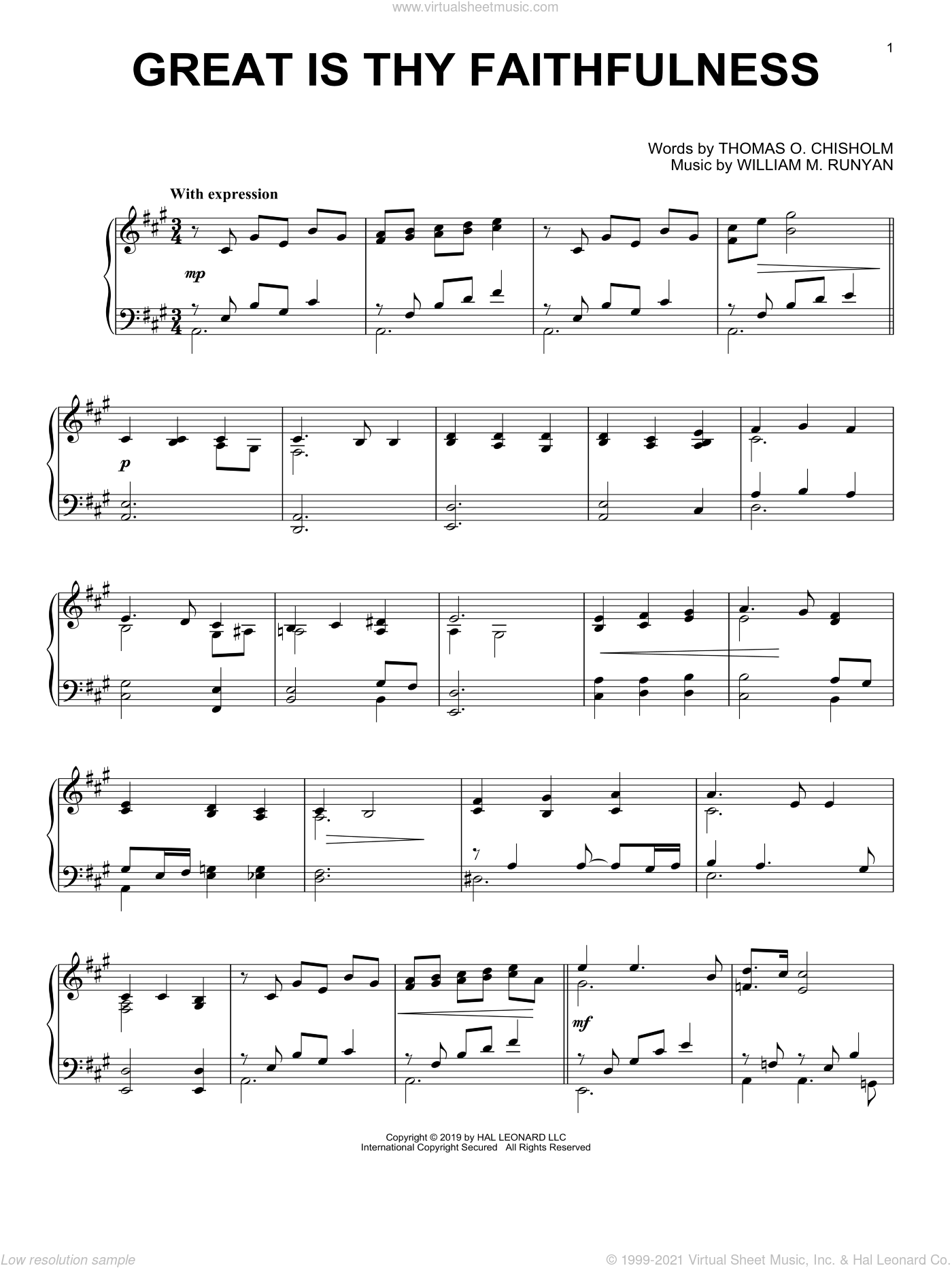 Great Is Thy Faithfulness, (intermediate) sheet music for piano solo by Thomas O. Chisholm and William M. Runyan, intermediate skill level