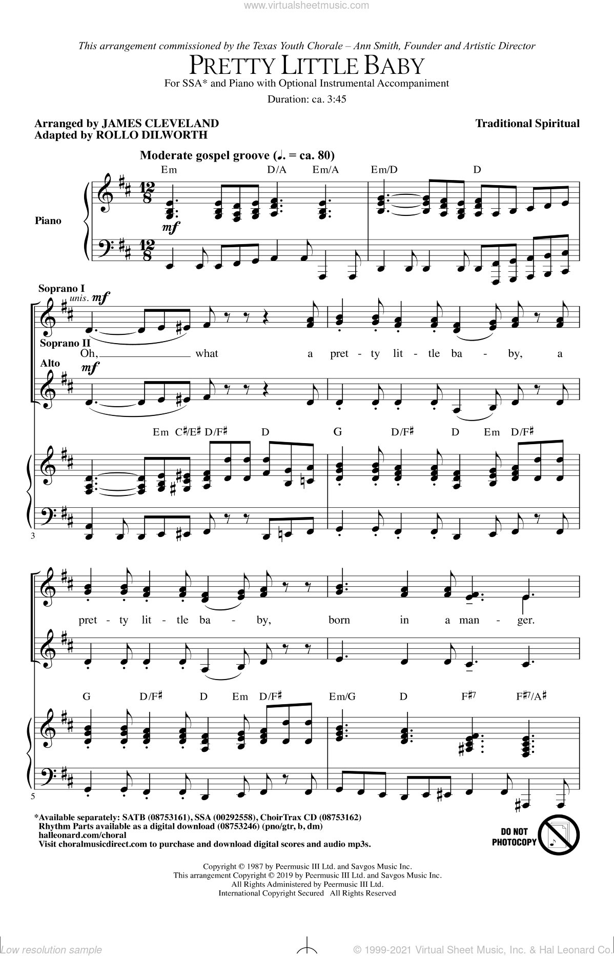 Pretty Little Baby (arr. James Cleveland) sheet music for choir (SSA: soprano, alto) by Rollo Dilworth, James Cleveland and Miscellaneous, intermediate skill level
