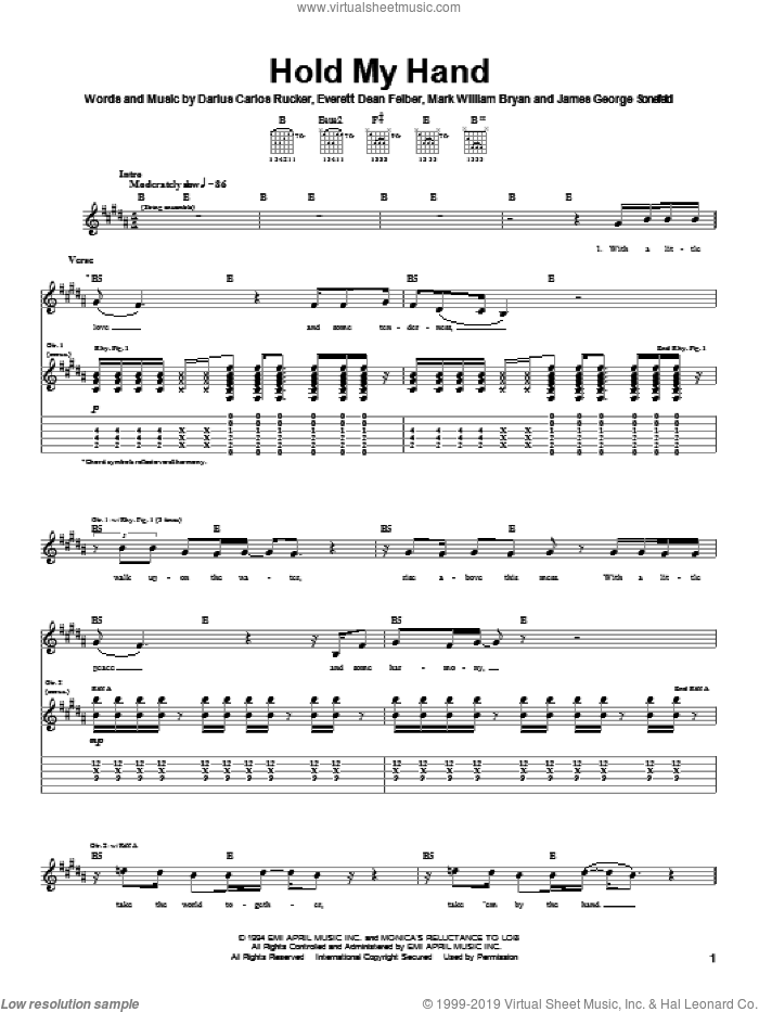 Hold My Hand sheet music for guitar (tablature) by Hootie & The Blowfish. Score Image Preview.