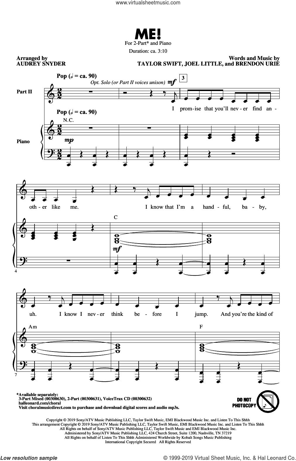 ME! (arr. Audrey Snyder) sheet music for choir (2-Part) by Taylor Swift, Audrey Snyder, Brendon Urie and Joel Little, intermediate duet