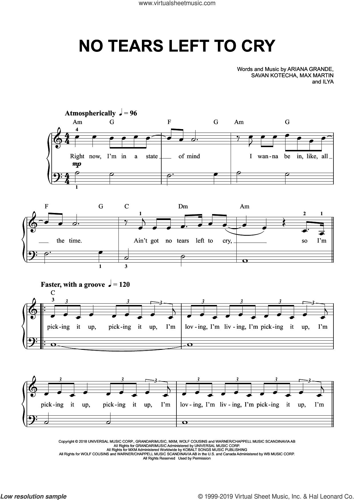 No Tears Left To Cry sheet music for piano solo by Ariana Grande, Ilya, Max Martin and Savan Kotecha, easy skill level