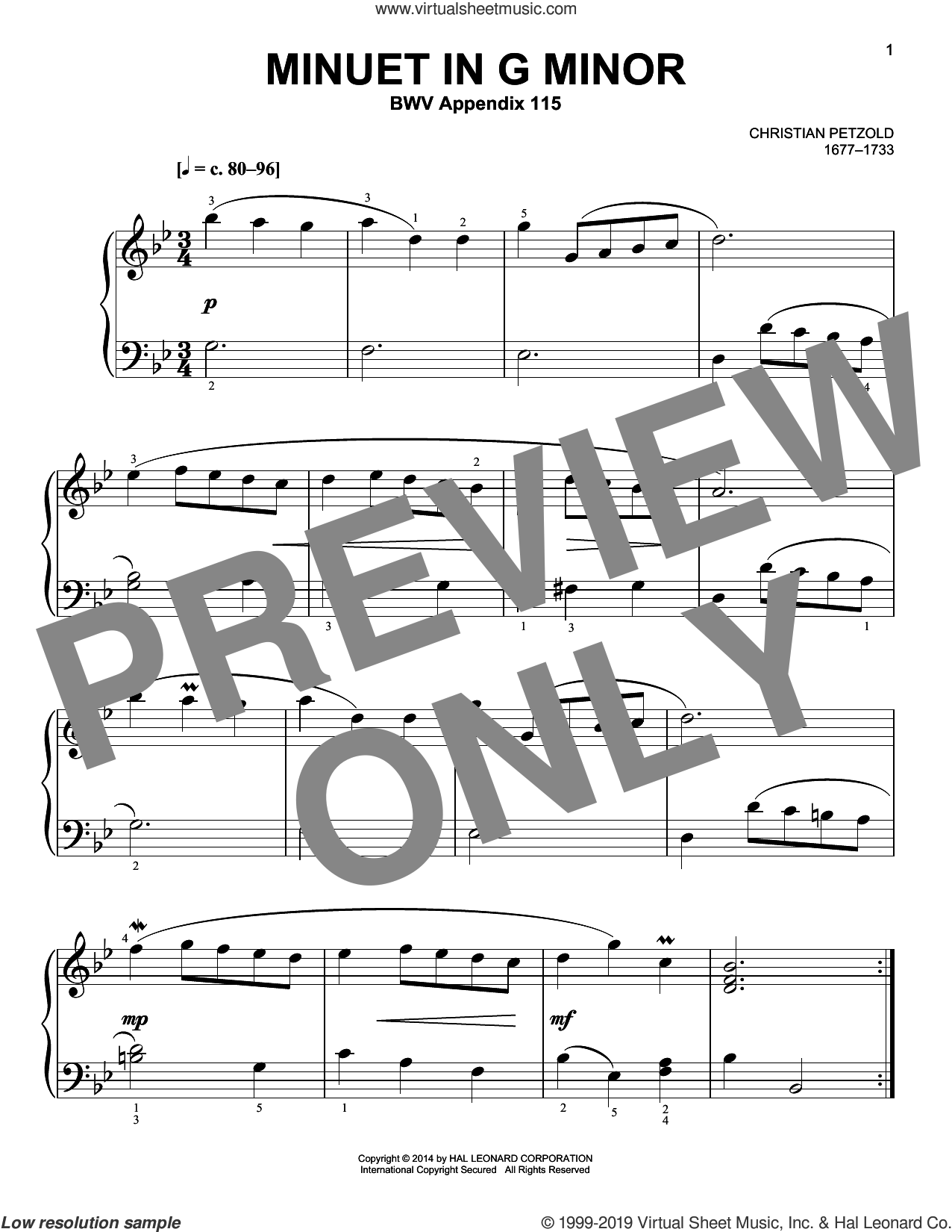 Minuet In G Minor, BWV Anh. 115 sheet music for piano solo by Christian Petzold, classical score, easy skill level