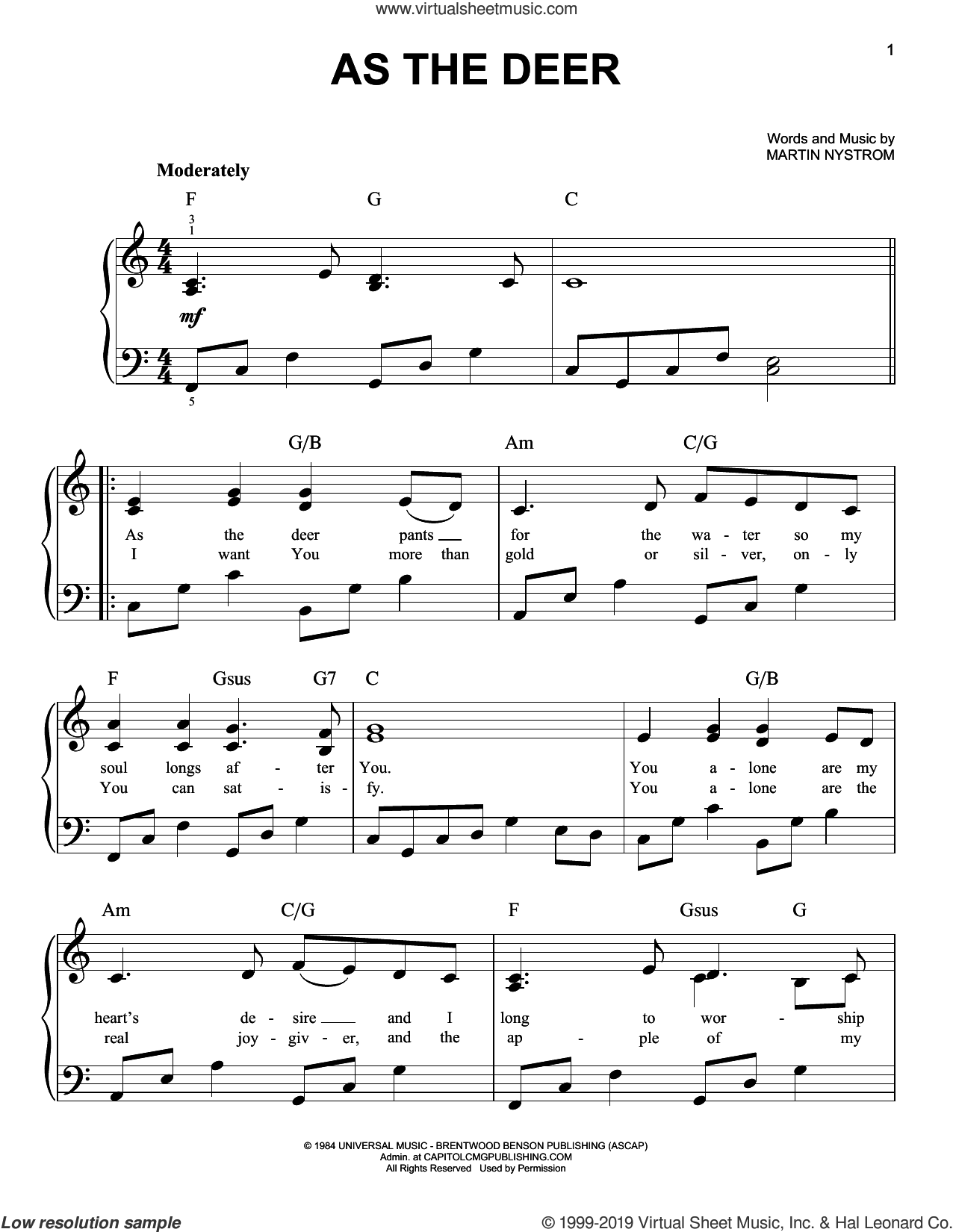 As The Deer, (easy) sheet music for piano solo by Martin Nystrom, easy skill level